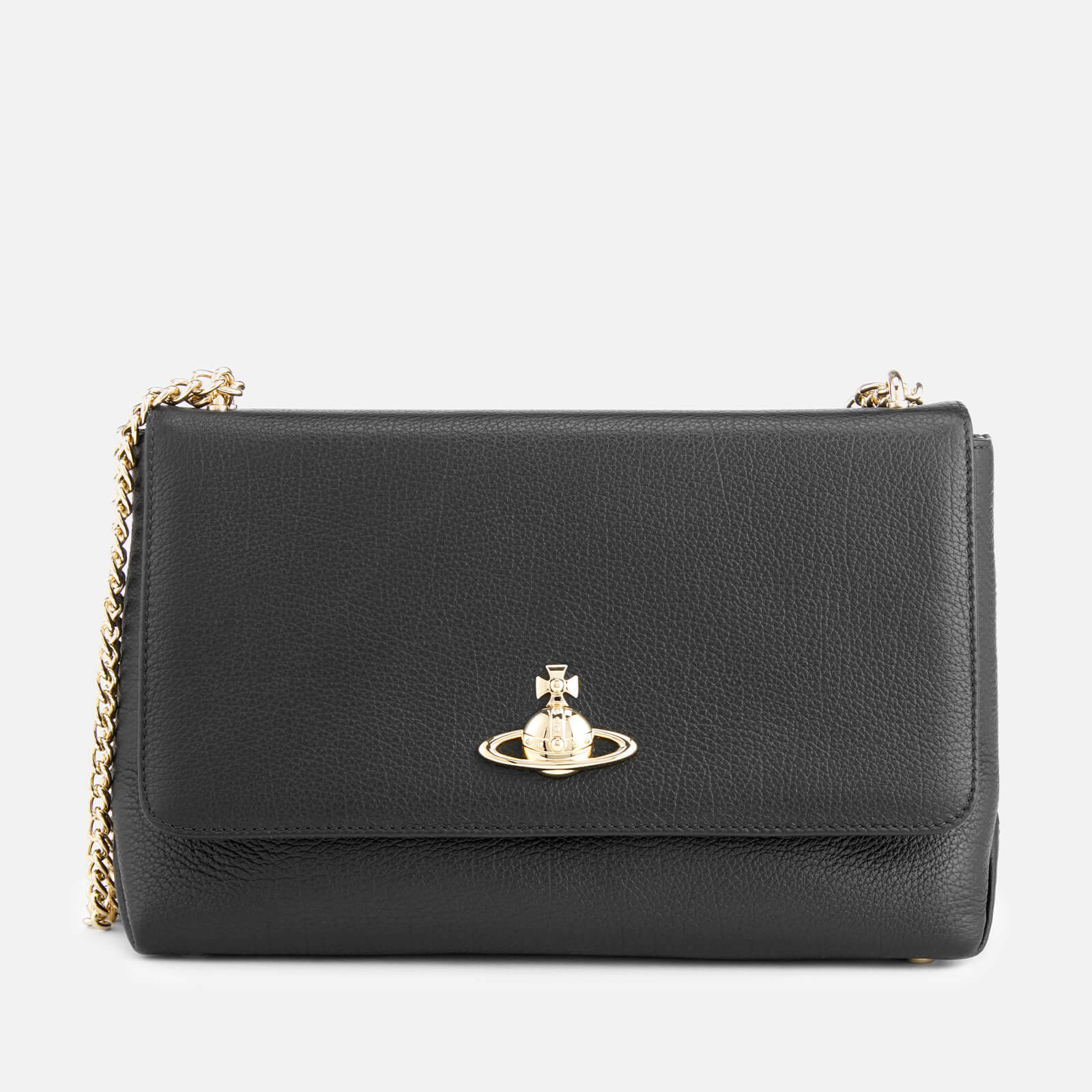 f6b60a34e0 Vivienne Westwood Women's Balmoral Large Bag with Flap and Chain - Black -  Free UK Delivery over £50