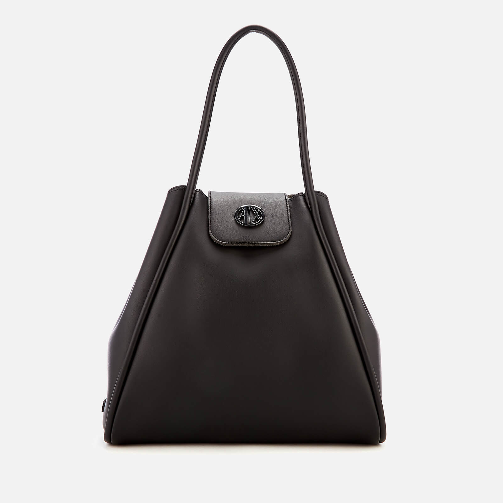 f6d1285e861110 Armani Exchange Women's Medium Shopper Tote Bag with Logo Flap - Black  Womens Accessories | TheHut.com