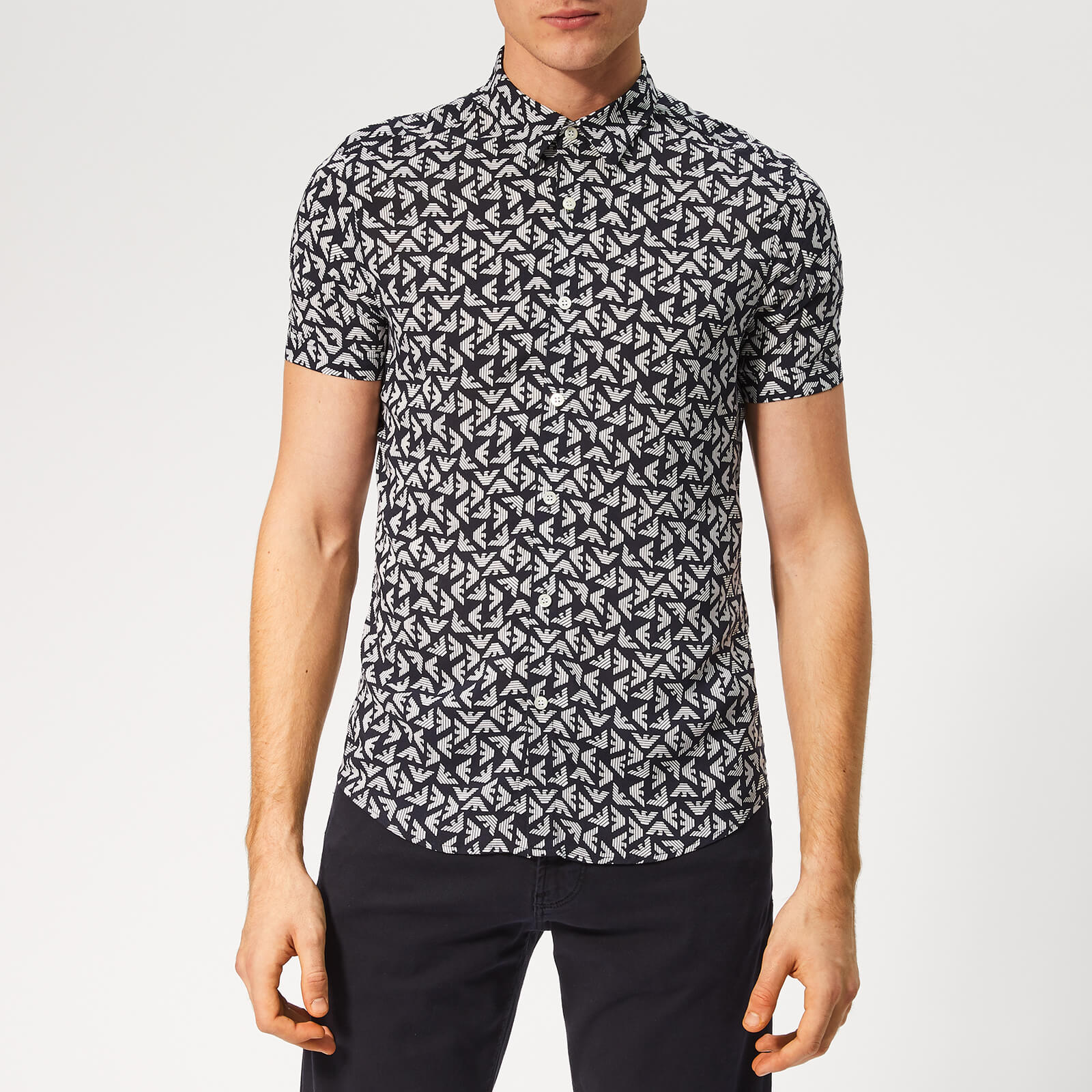 ccf361a6 Emporio Armani Men's All Over Print Short Sleeve Shirt - Fant Blue - Free  UK Delivery over £50