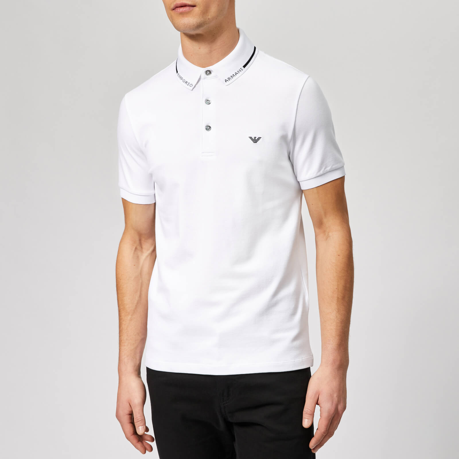 72c555aeee Emporio Armani Men's Collar Logo Polo Shirt - Bianco Ottico