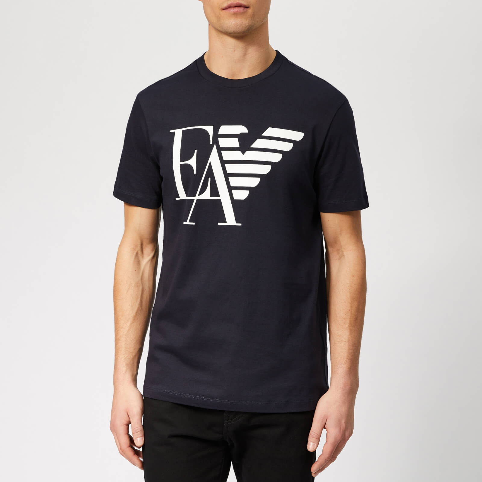 2a71c3870 Emporio Armani Men's EA and Eagle Logo T-Shirt - Blue Navy - Free UK  Delivery over £50