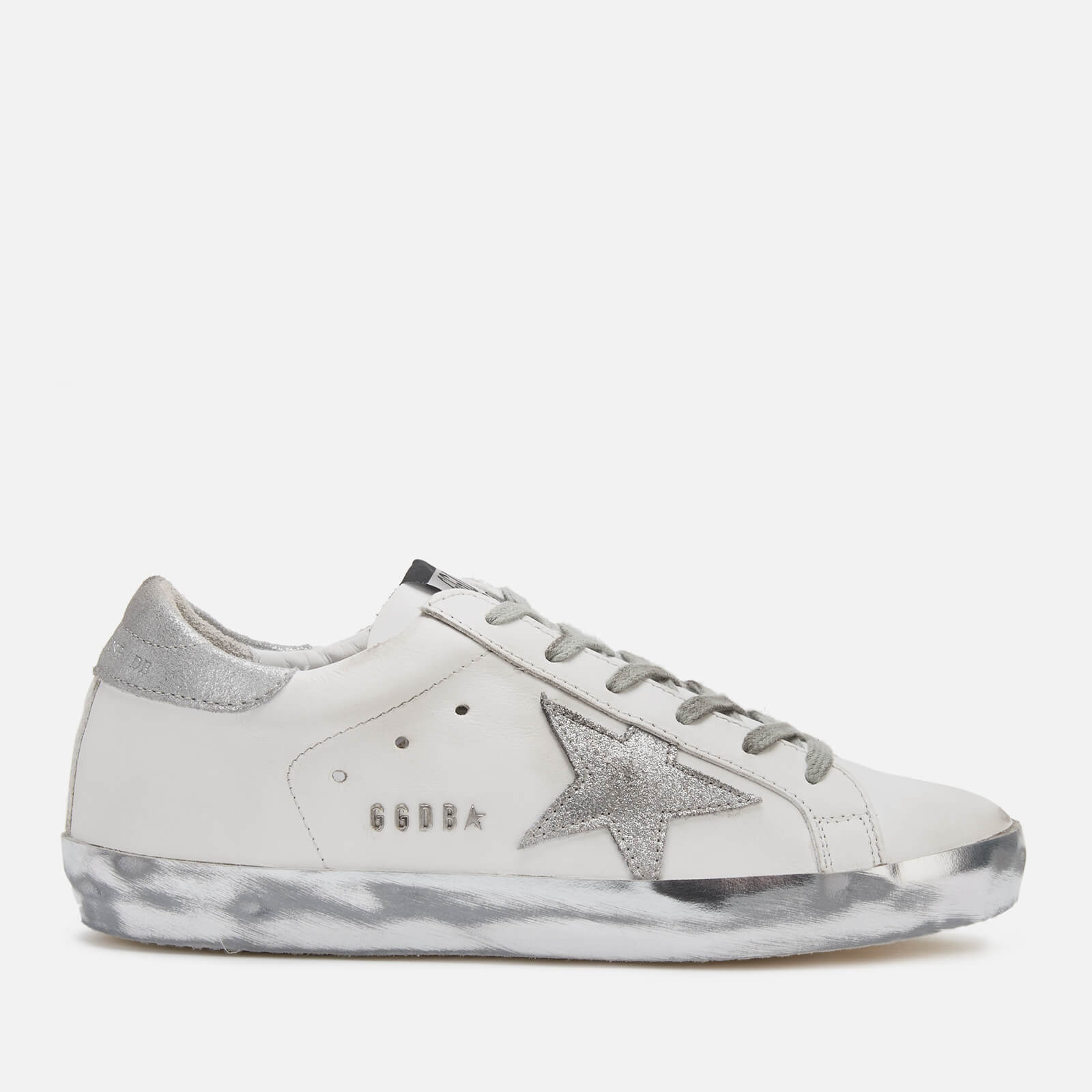 Golden Goose Deluxe Brand Women's Superstar Trainers - White/Silver Star Sparkle - UK 8