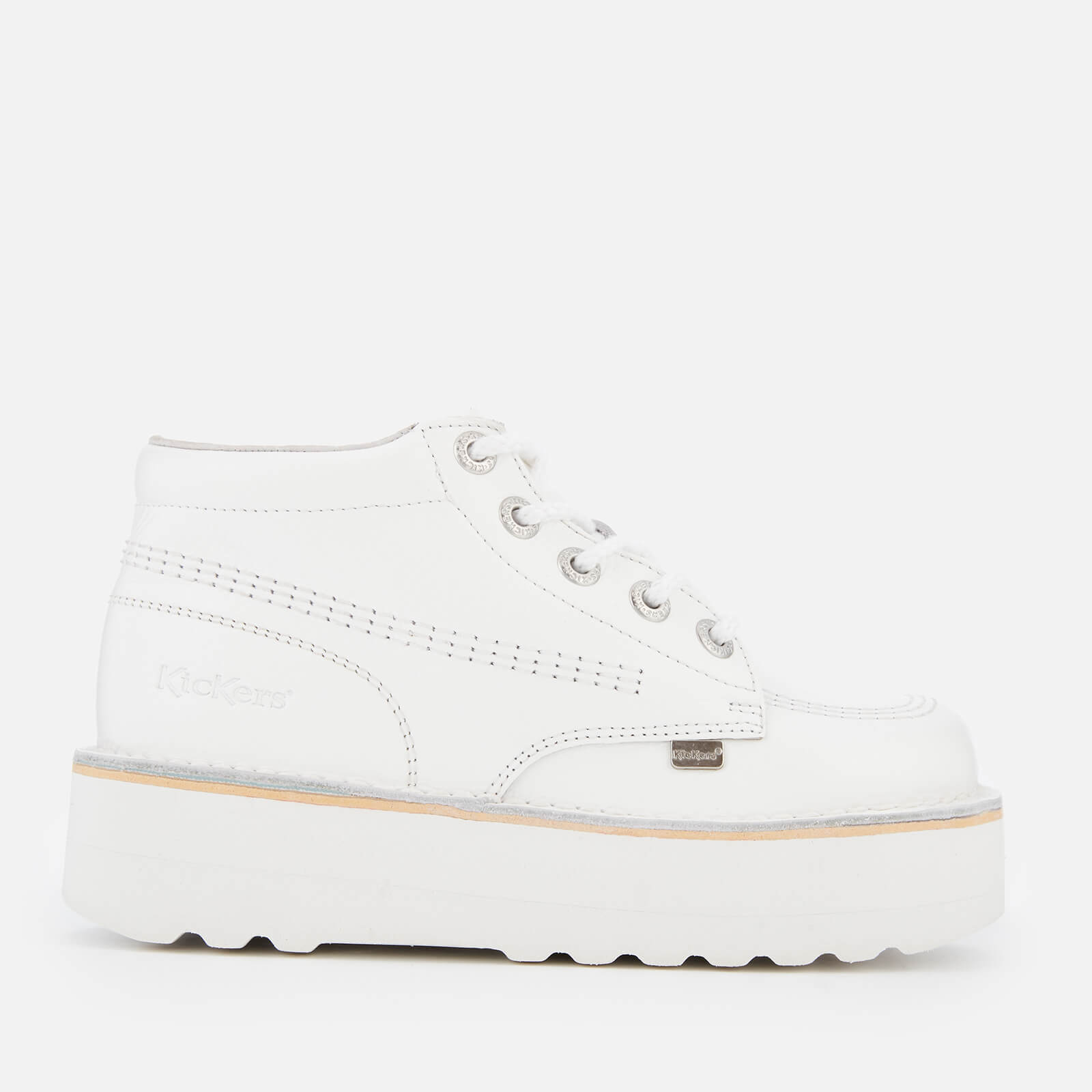 d694fa96c Kickers Women s Kick Hi-Stack Leather Boots - White Metallic Womens Footwear