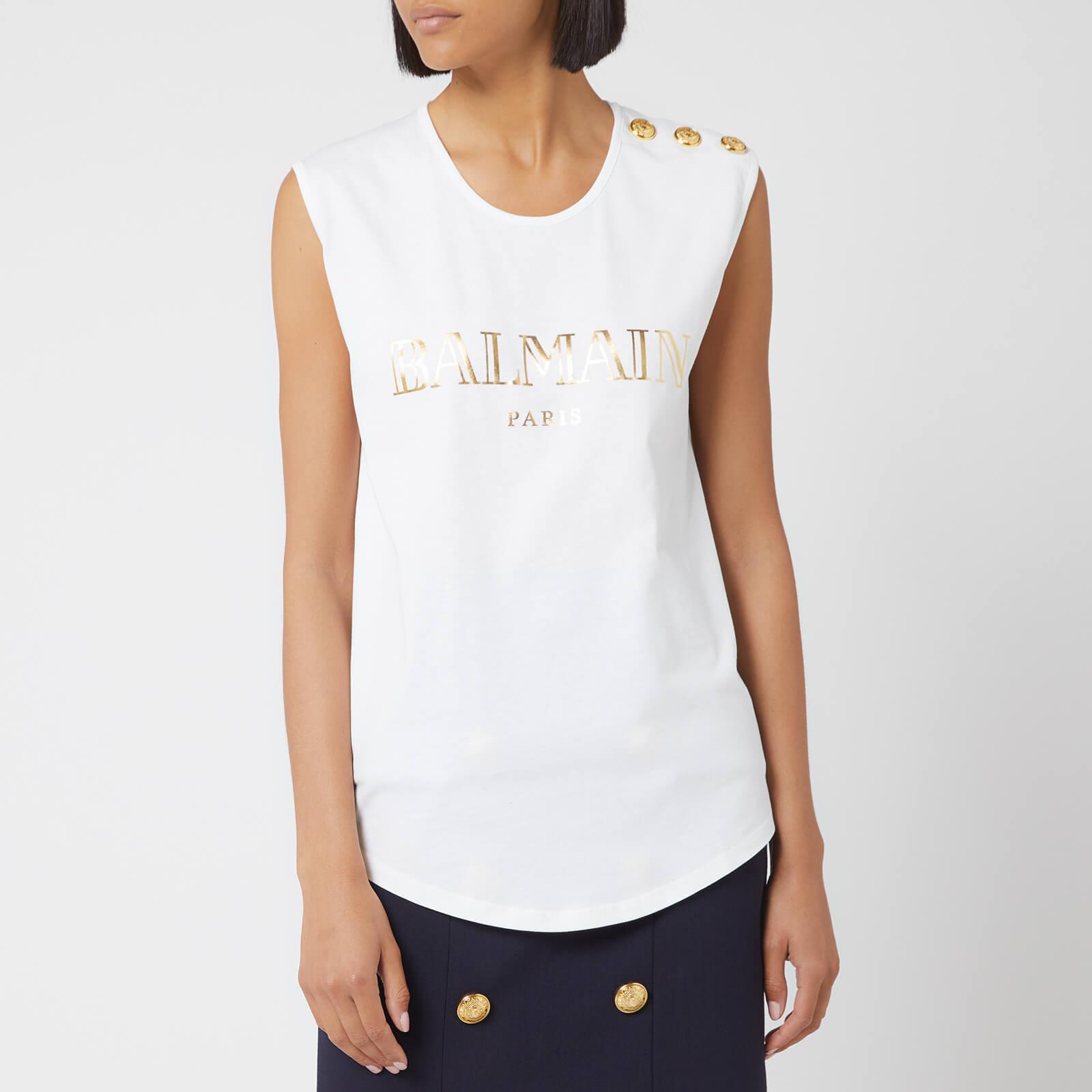 76591a9cbd1 Balmain Women's Logo Tank Top - White/Gold - Free UK Delivery over £50