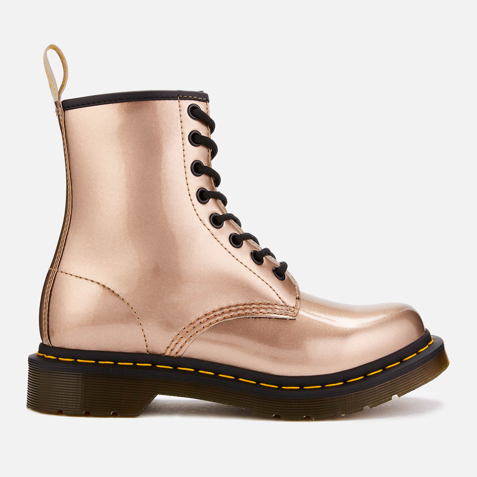 ccdaab2c2a1 Dr. Martens Women's 1460 Vegan Chrome 8-Eye Boots - Rose Gold | FREE UK  Delivery | Allsole