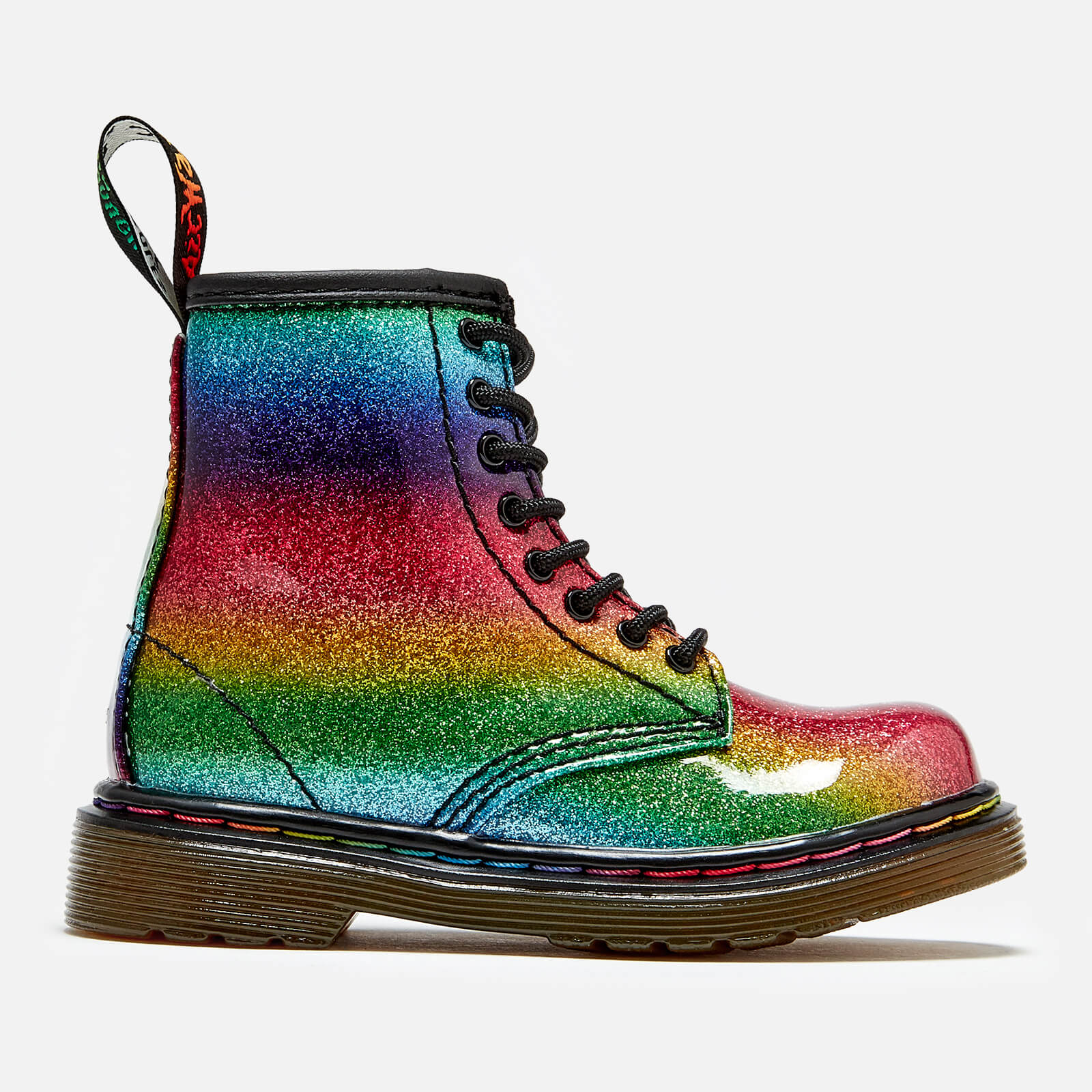 31aa62e5ac69 Dr. Martens Toddler's 1460 Ombre Glitter Patent 8-Eye Boots - Rainbow  Junior Clothing | TheHut.com