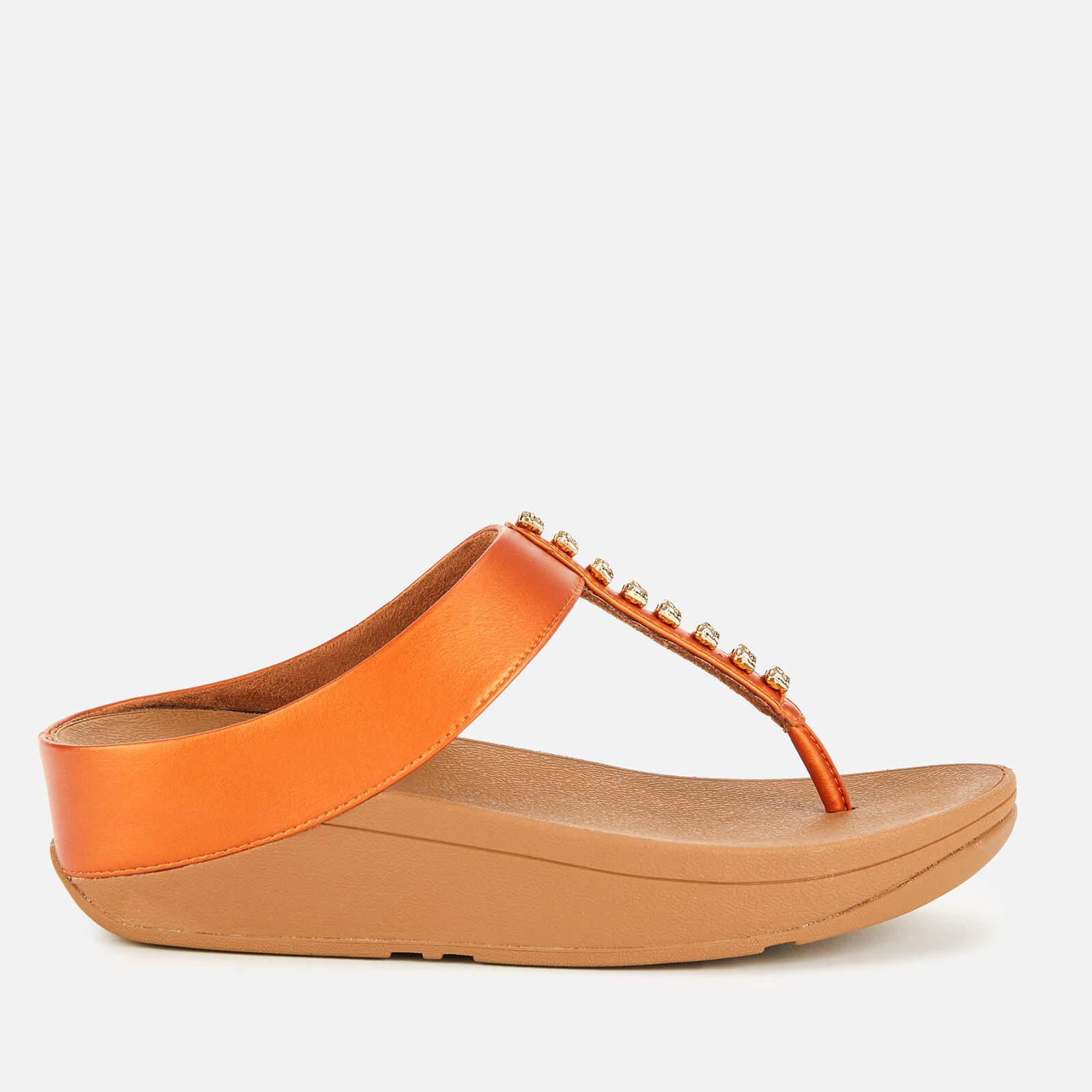 1e45a6352 FitFlop Women s Fino Treasure Toe Post Sandals - Amber Ash Womens Footwear