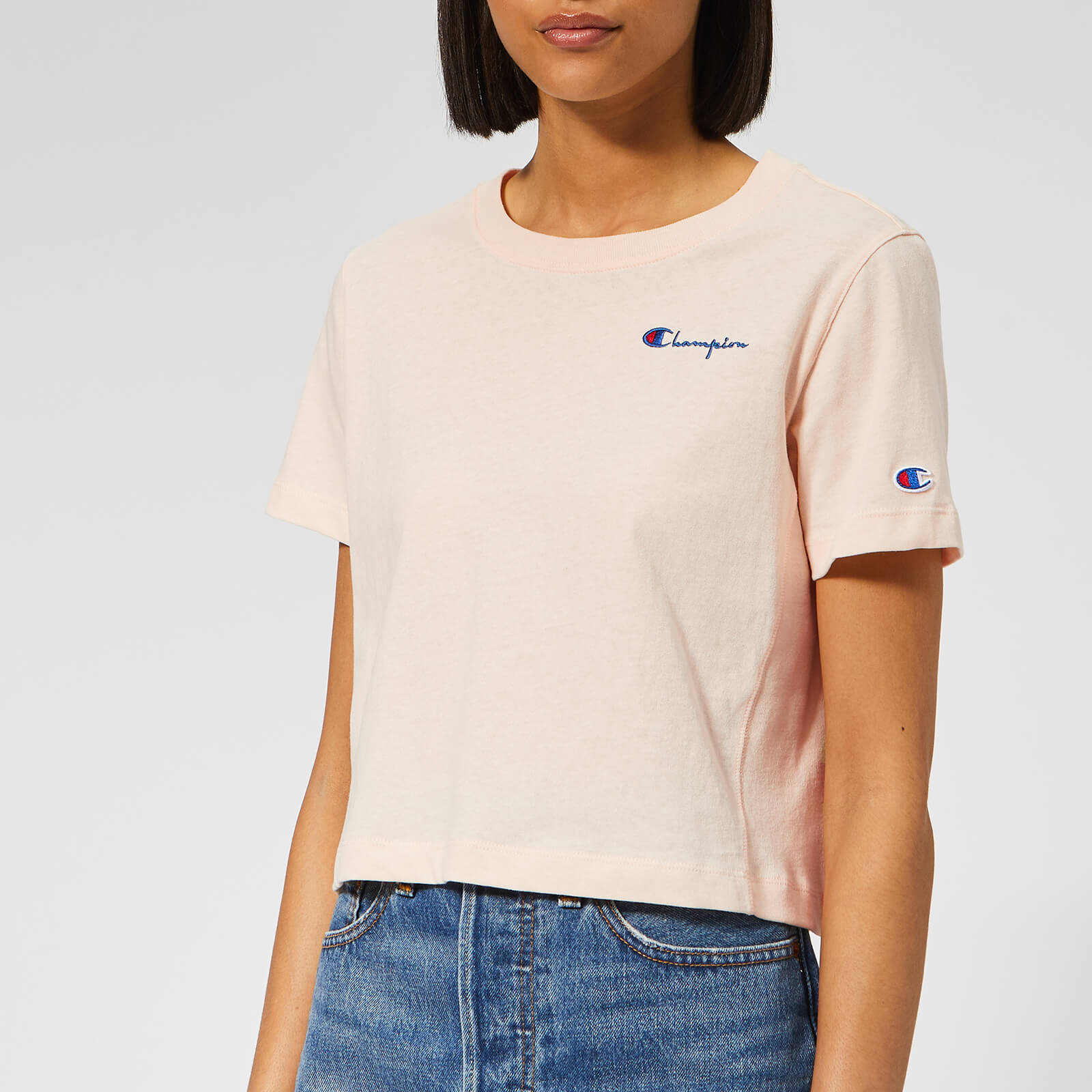 ec621b38b293 Champion Women's Cropped Short Sleeve T-Shirt - Pink Womens Clothing |  TheHut.com