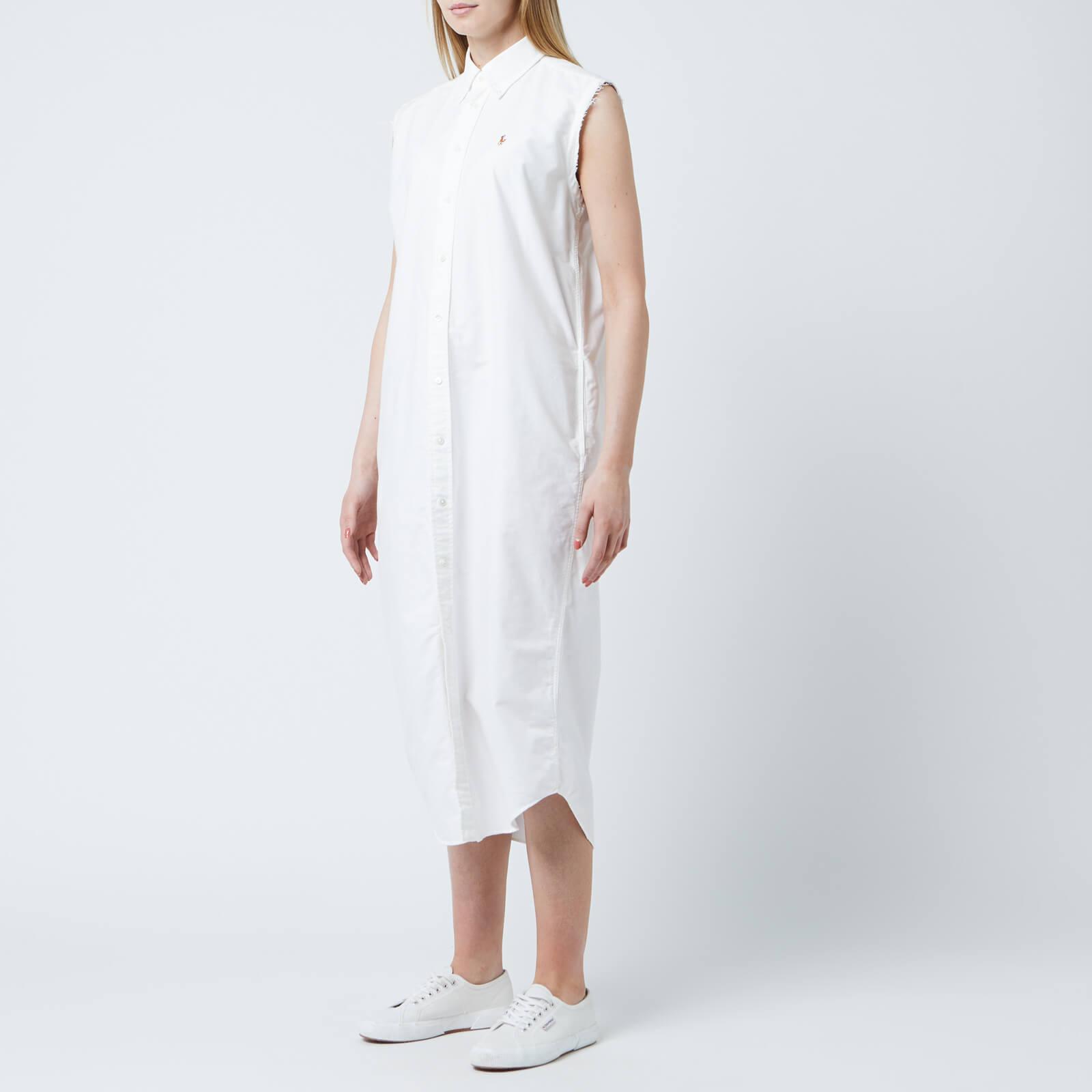 Dress Sleeveless Casual Ralph Lauren Polo Women's White uwiTlPXOkZ