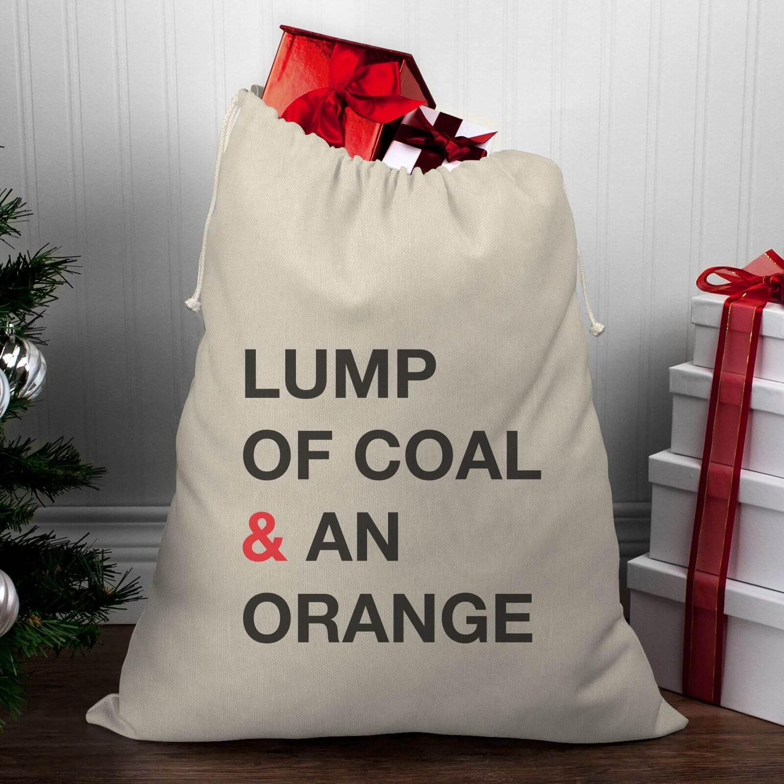 Lump Of Coal For Christmas.Lump Of Coal An Orange Christmas Santa Sack