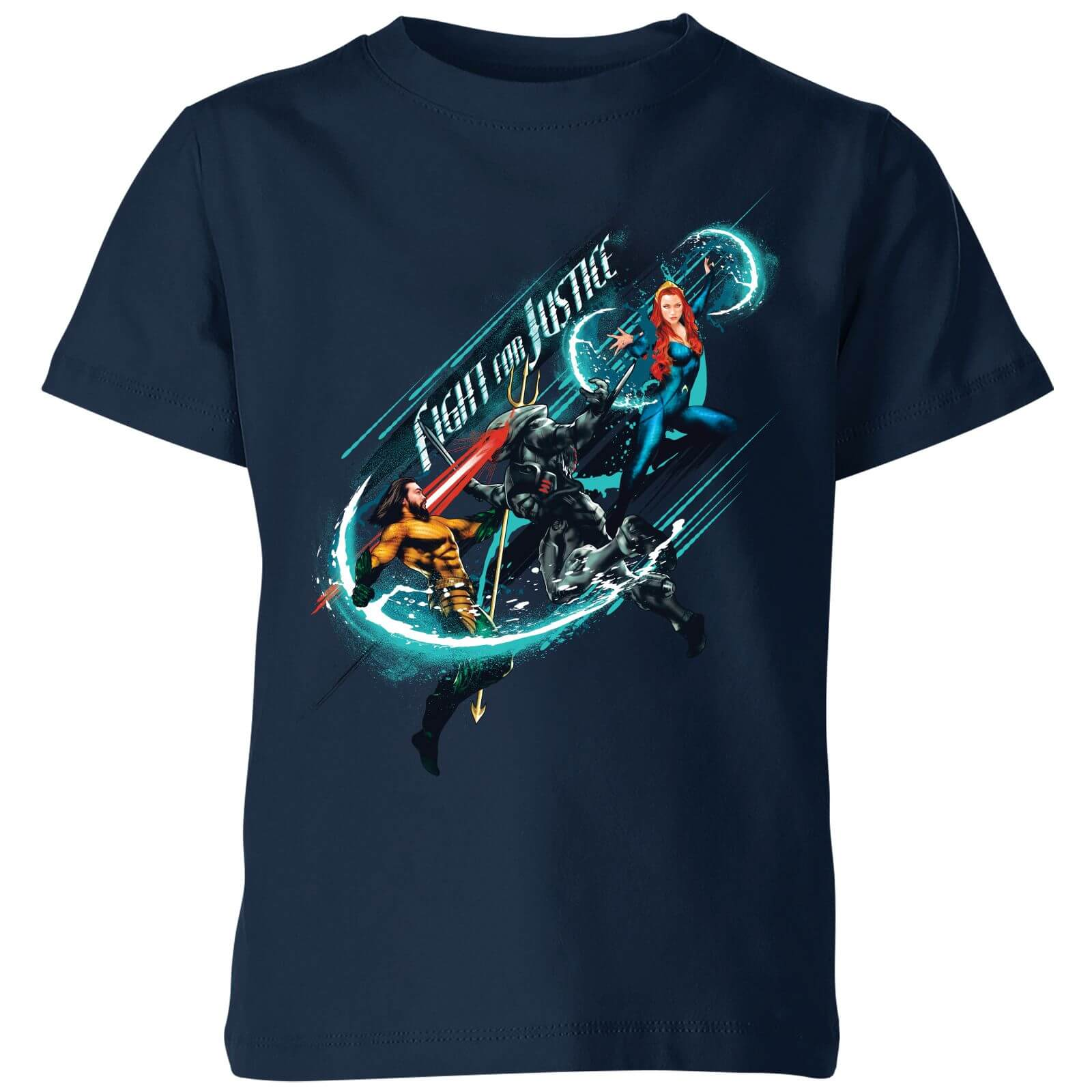 a6702e92ace Aquaman Fight for Justice Kids' T-Shirt - Navy Clothing | Zavvi
