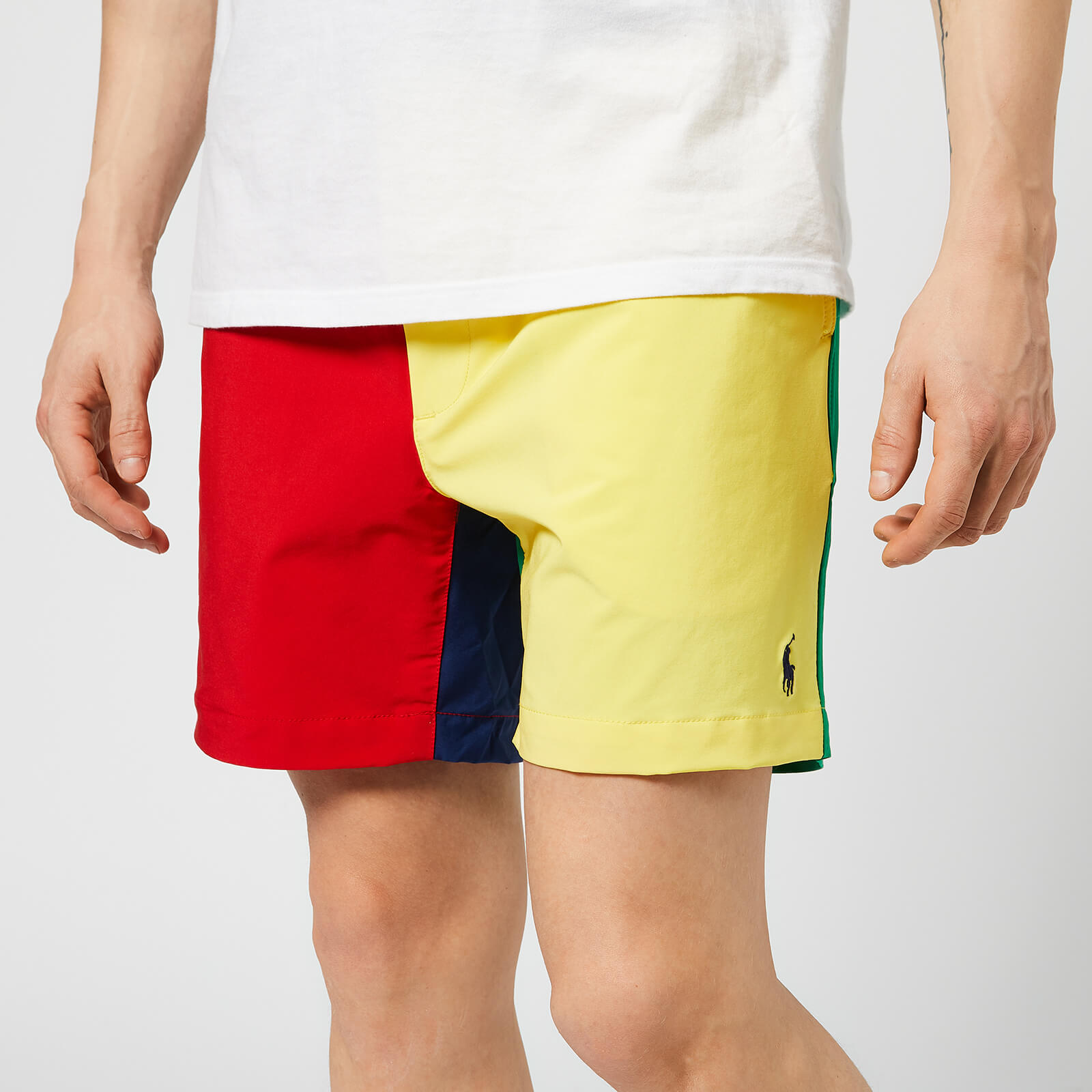 9dc695e7b4 Polo Ralph Lauren Men's Prepster Colour Block Swim Shorts - Red/Yellow/Blue  - Free UK Delivery over £50