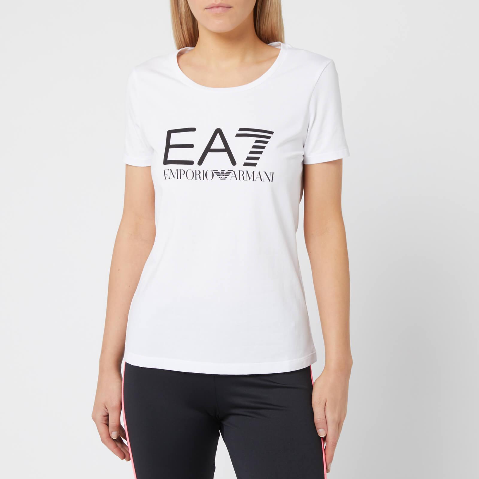 1617fc3acfc0 Emporio Armani EA7 Women's Train Logo Series Short Sleeve T-Shirt - White  Womens Clothing | TheHut.com