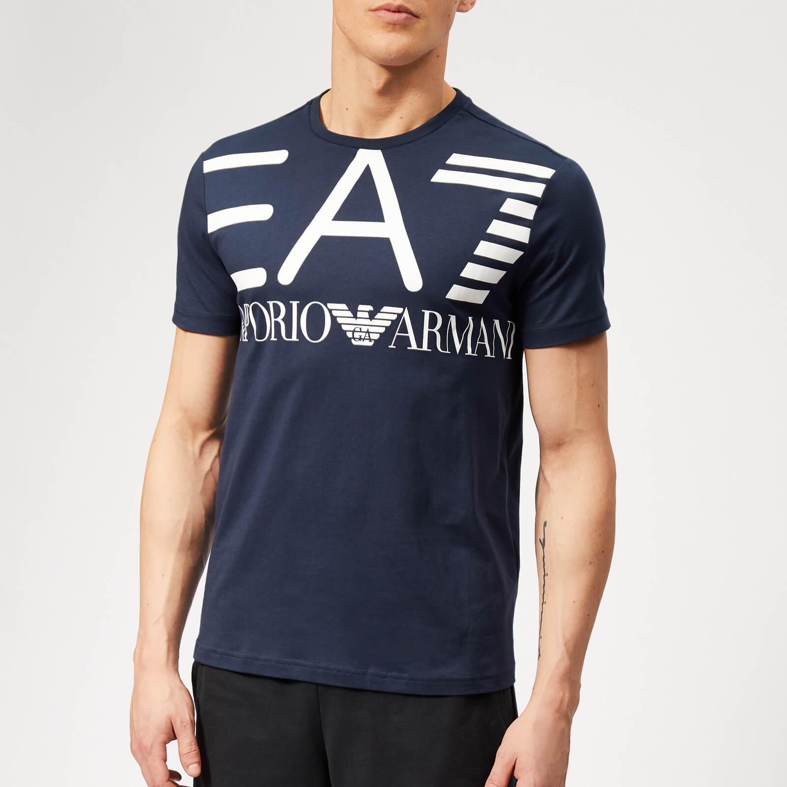 0ceafa08 Emporio Armani EA7 Men's Train Logo Series Oversize Logo Short Sleeve T- Shirt - Navy Blue Clothing | TheHut.com
