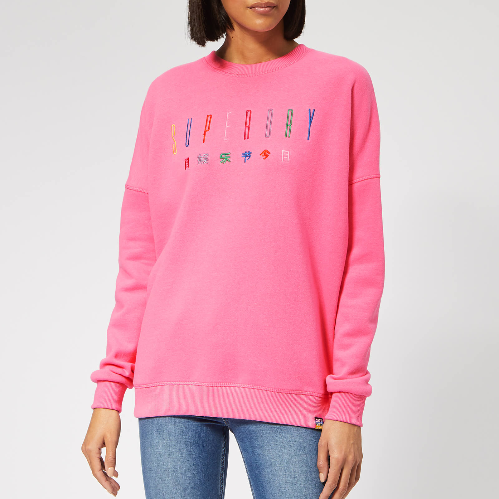 Superdry Women's Carly Carnival Embroidered Crew Sweatshirt Active Pink