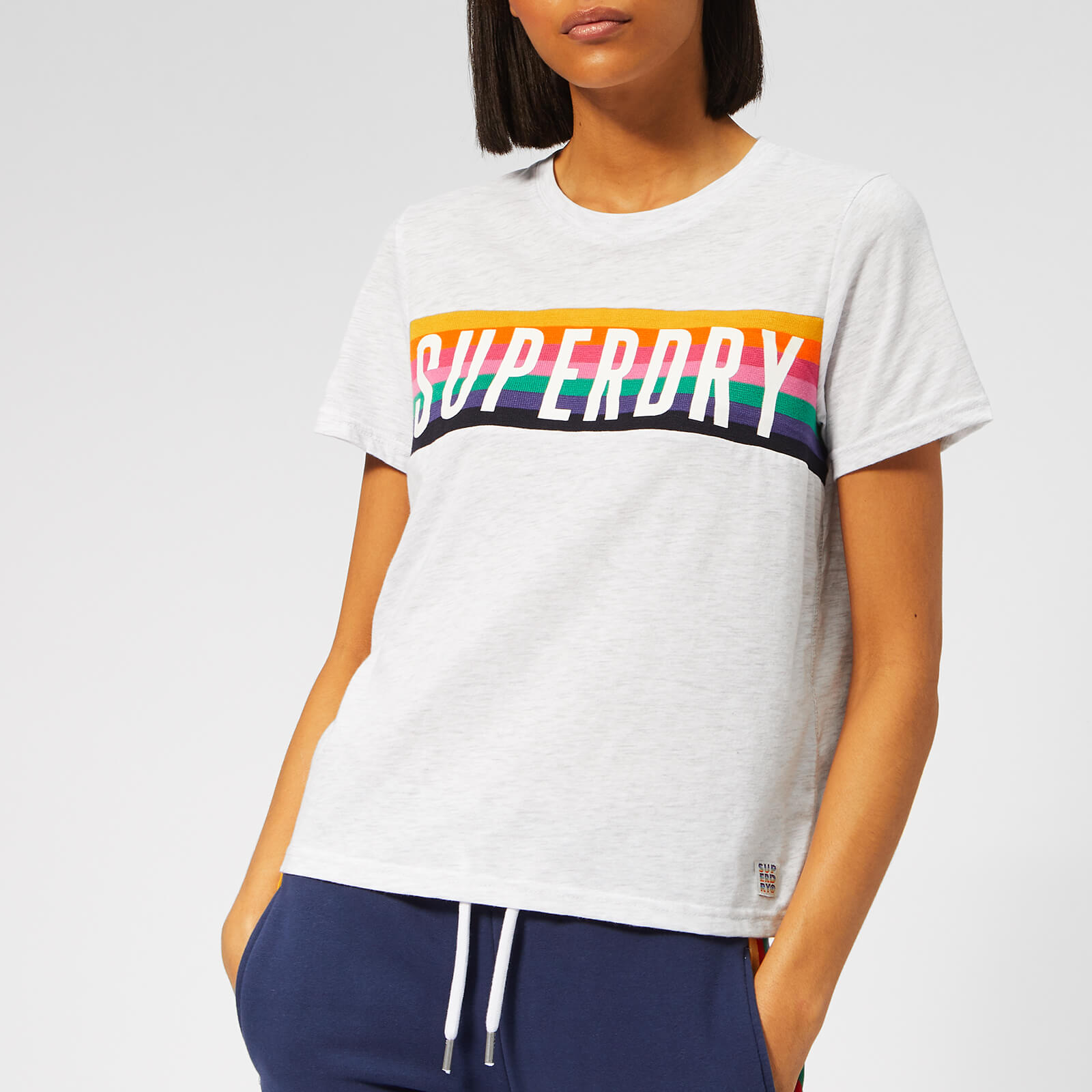 cac66ca6b Superdry Women's Rainbow Graphic T-Shirt - Ice Marl Womens Clothing |  TheHut.com