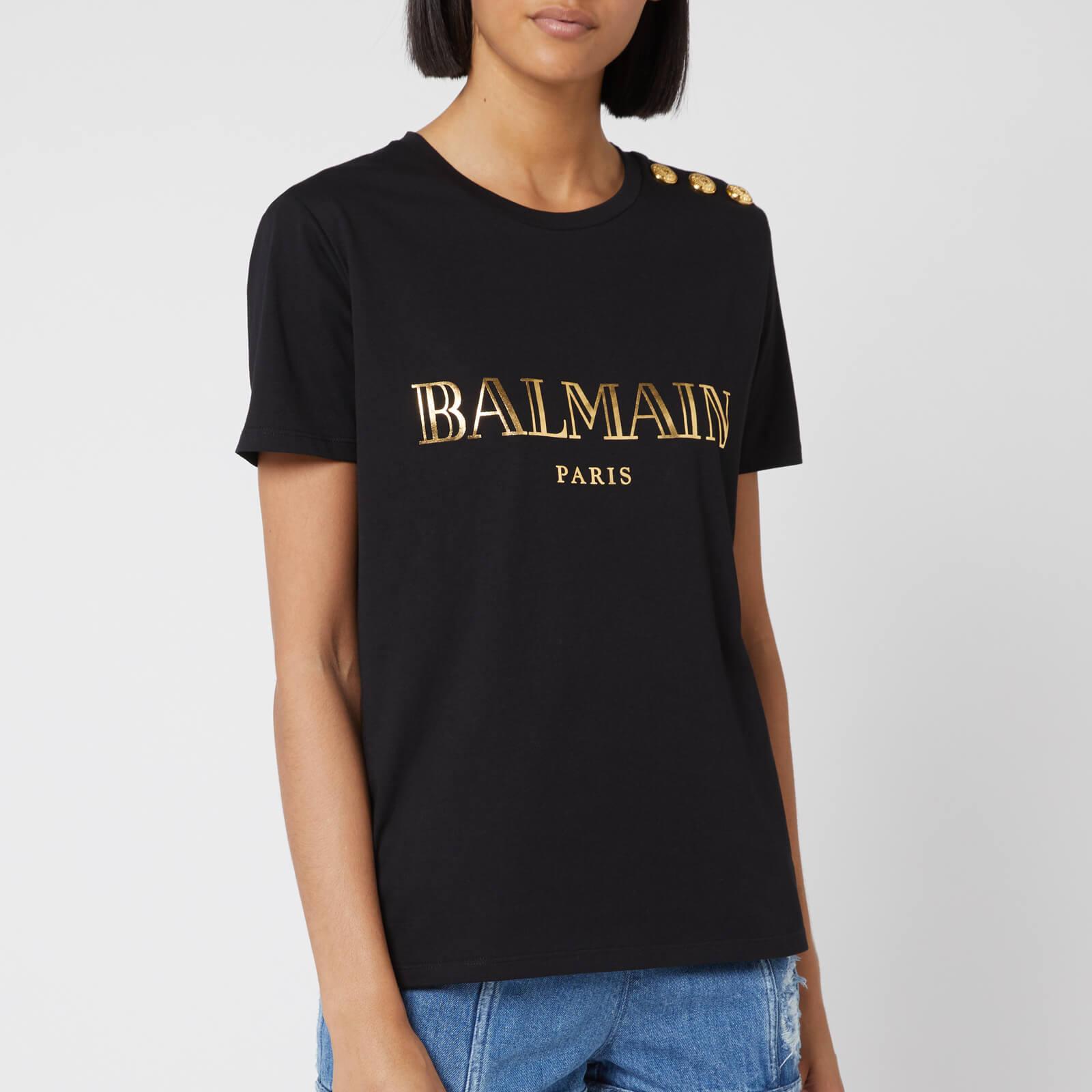 9a11f5724c9 Balmain Women's Logo T-Shirt - Black/Gold - Free UK Delivery over £50