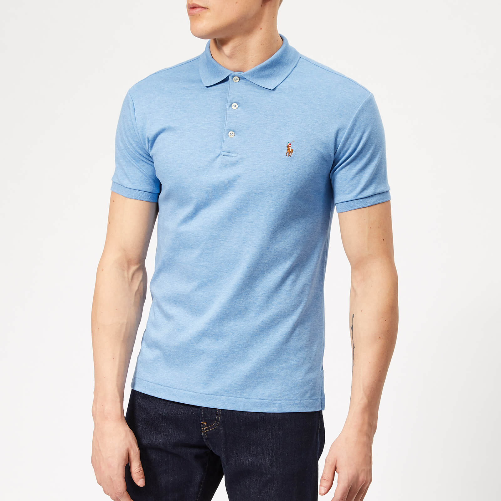 910288321 Polo Ralph Lauren Men s Pima Cotton Slim Fit Polo Shirt - Soft Royal  Heather - Free UK Delivery over £50