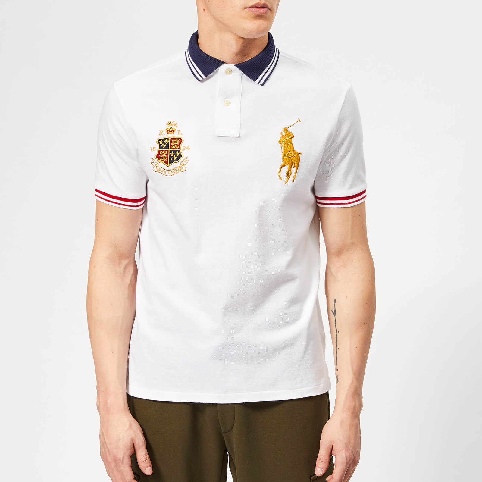 Ralph Cresthorse White Lauren Shirt Men's Pique Polo srdQohxtCB