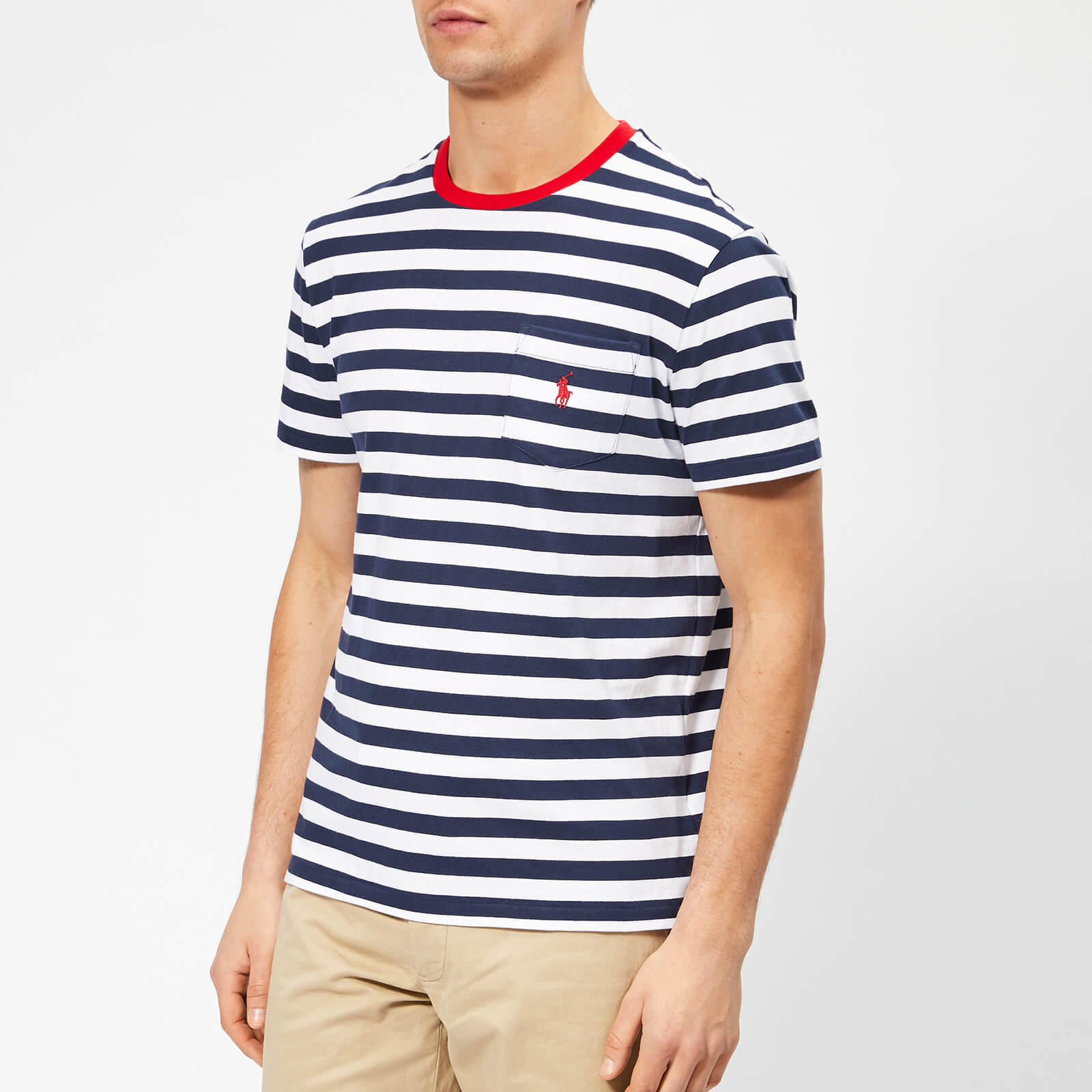 4088650c Polo Ralph Lauren Men's Stripe Pocket T-Shirt - Newport Navy/White - Free  UK Delivery over £50