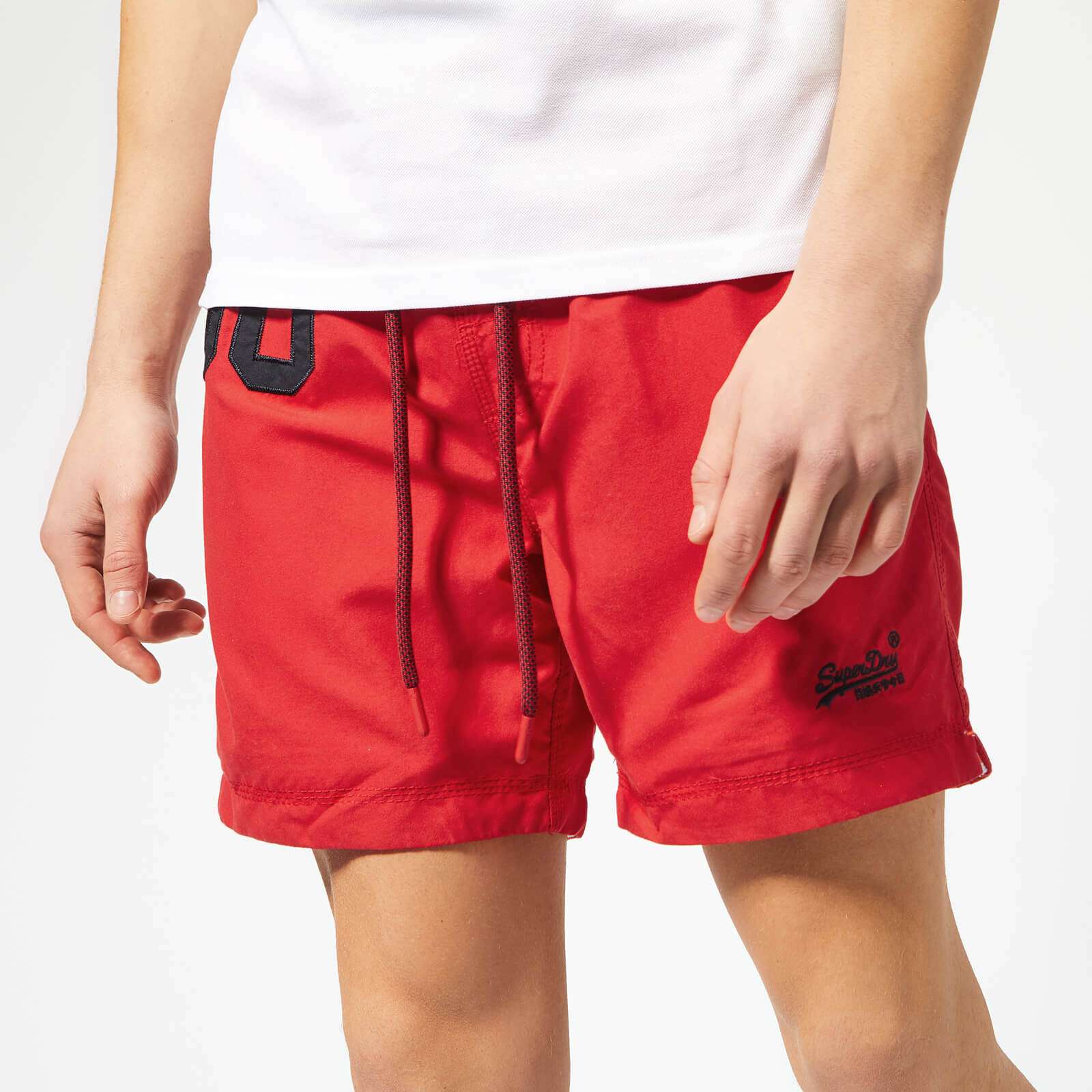 New Mens Superdry Water Polo Swim Shorts Flag Red