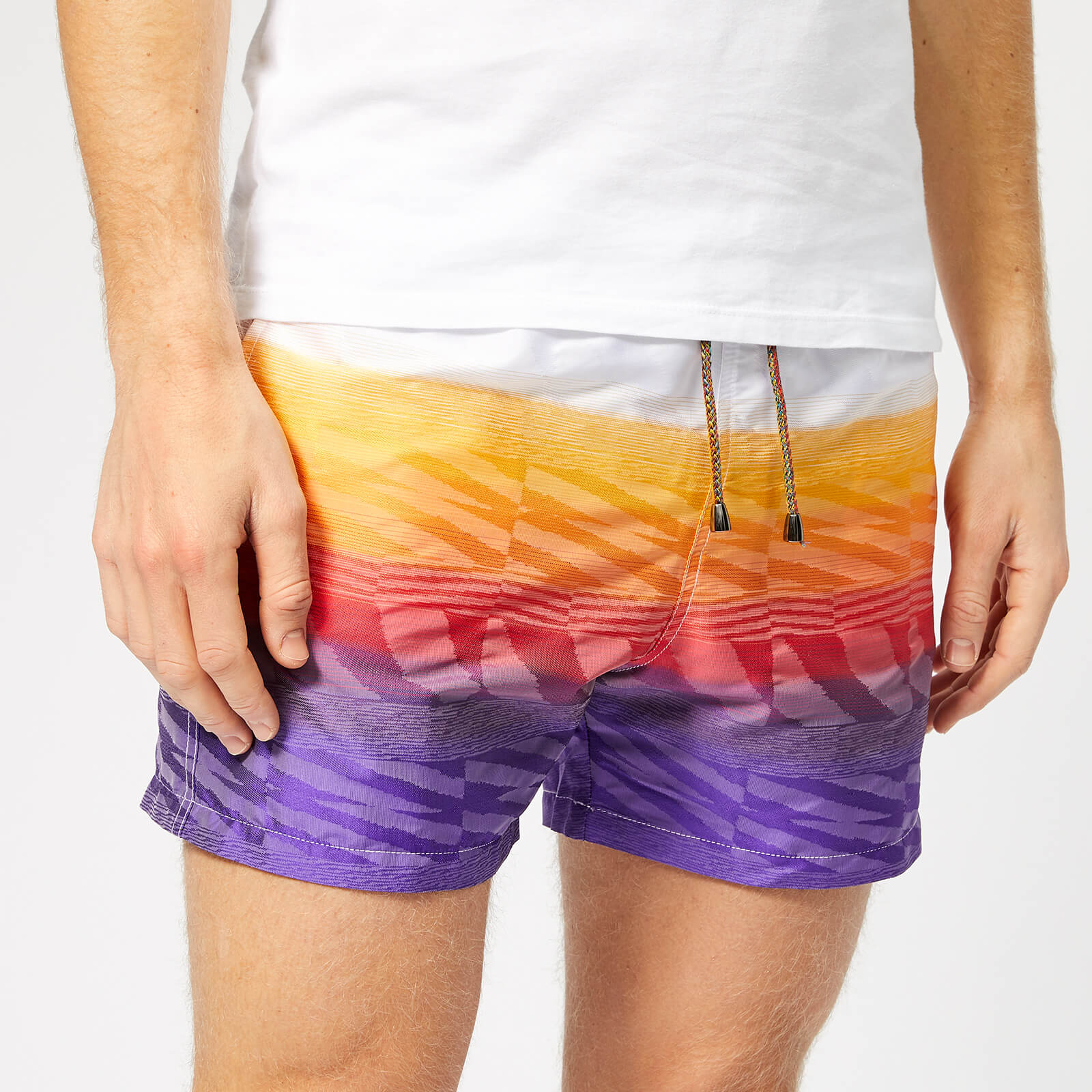 72742bf85b Missoni Men's Multi Stripe Swim Shorts - White/Orange - Free UK Delivery  over £50