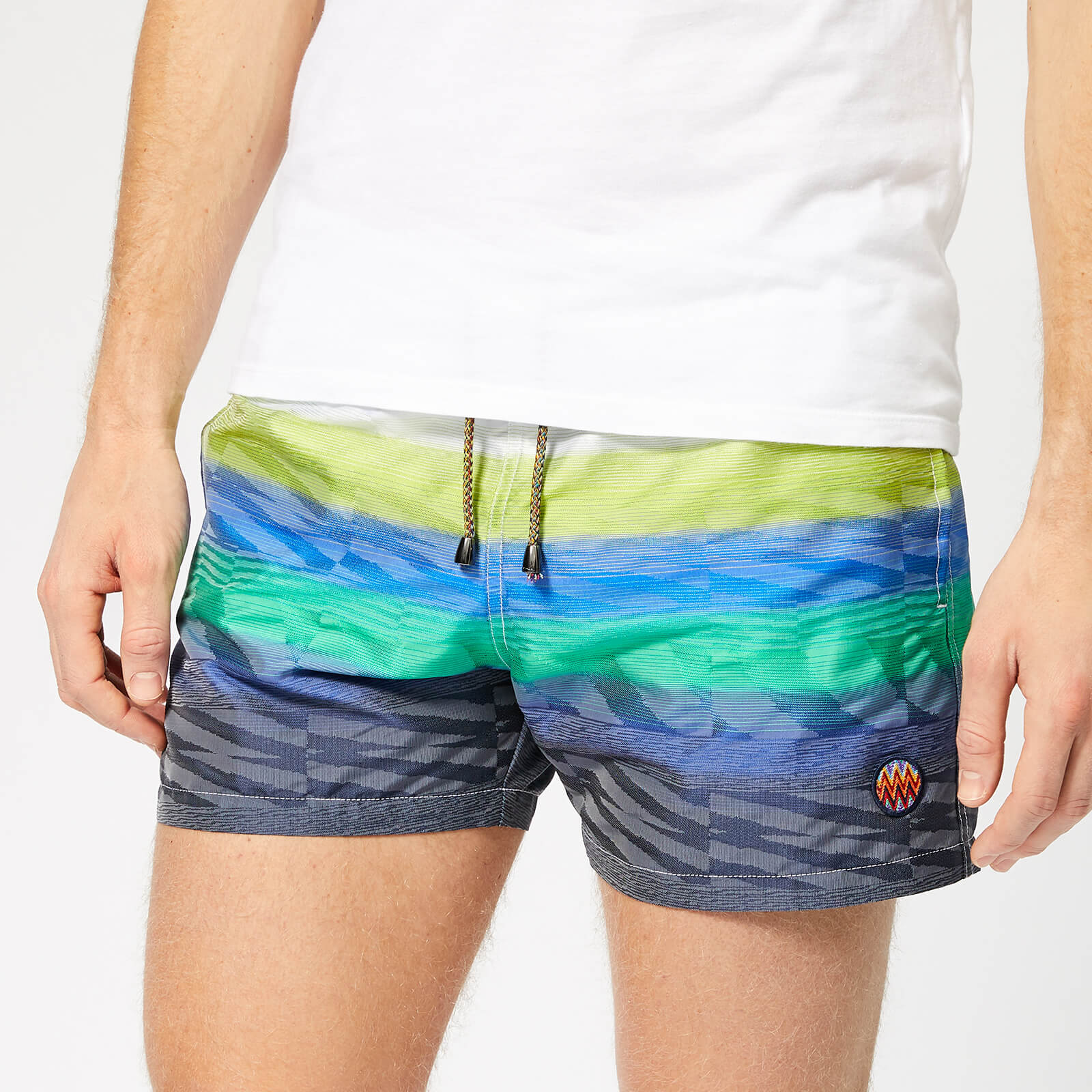 e61b9843d2 Missoni Men's Multi-Stripe Swim Shorts - White/Green - Free UK Delivery  over £50