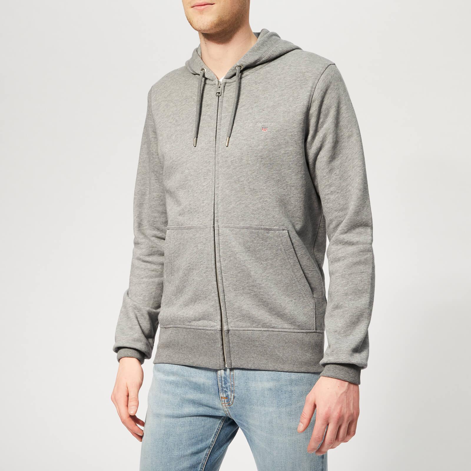 18e7571e GANT Men's The Original Full Zip Hoodie - Dark Grey Melange Mens Clothing |  TheHut.com