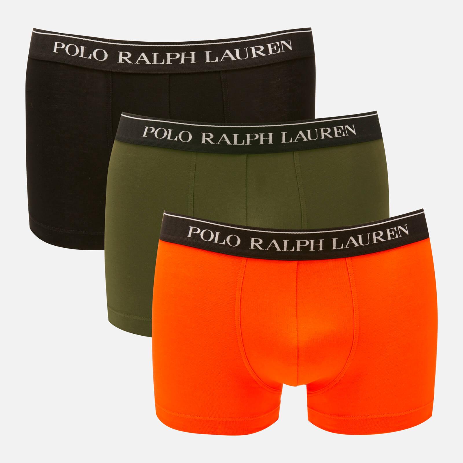 3e5dceee62 Polo Ralph Lauren Men's 3 Pack Classic Trunk Boxer Shorts - Black/Spanish  Olive/Orange Mens Underwear | TheHut.com