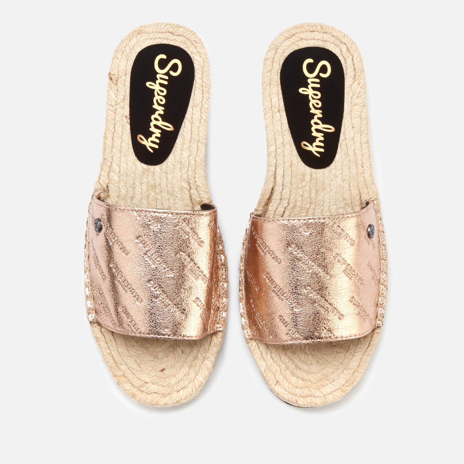 Superdry Women S Maya Slide Espadrille Sandals Rose Gold Crackle