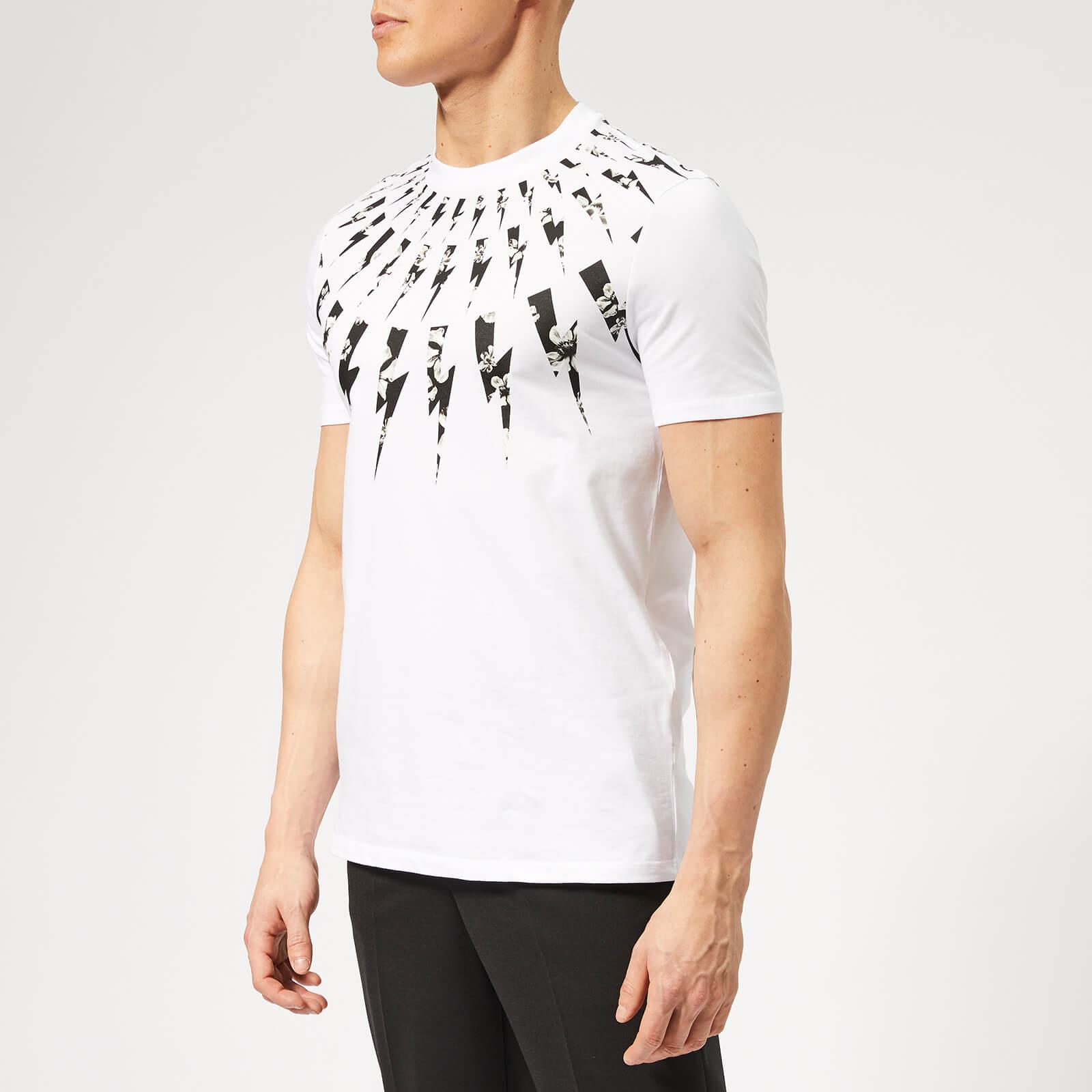 855b29ad Neil Barrett Men's Fairisle Floral Lightning Bolt T-Shirt - White - Free UK  Delivery over £50