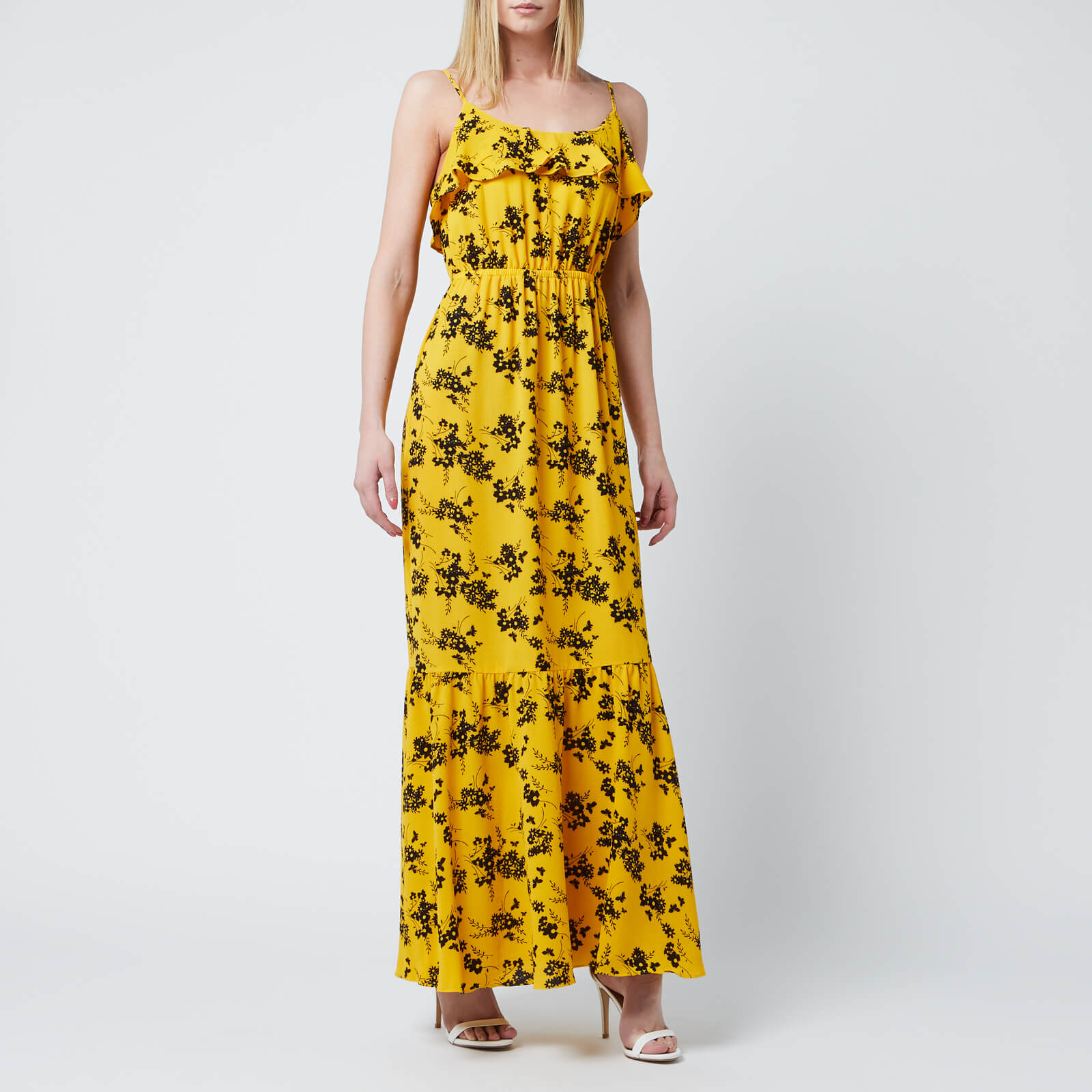41d23884b2 MICHAEL MICHAEL KORS Women s Bold Botanical Dress - Golden Yellow Black Womens  Clothing