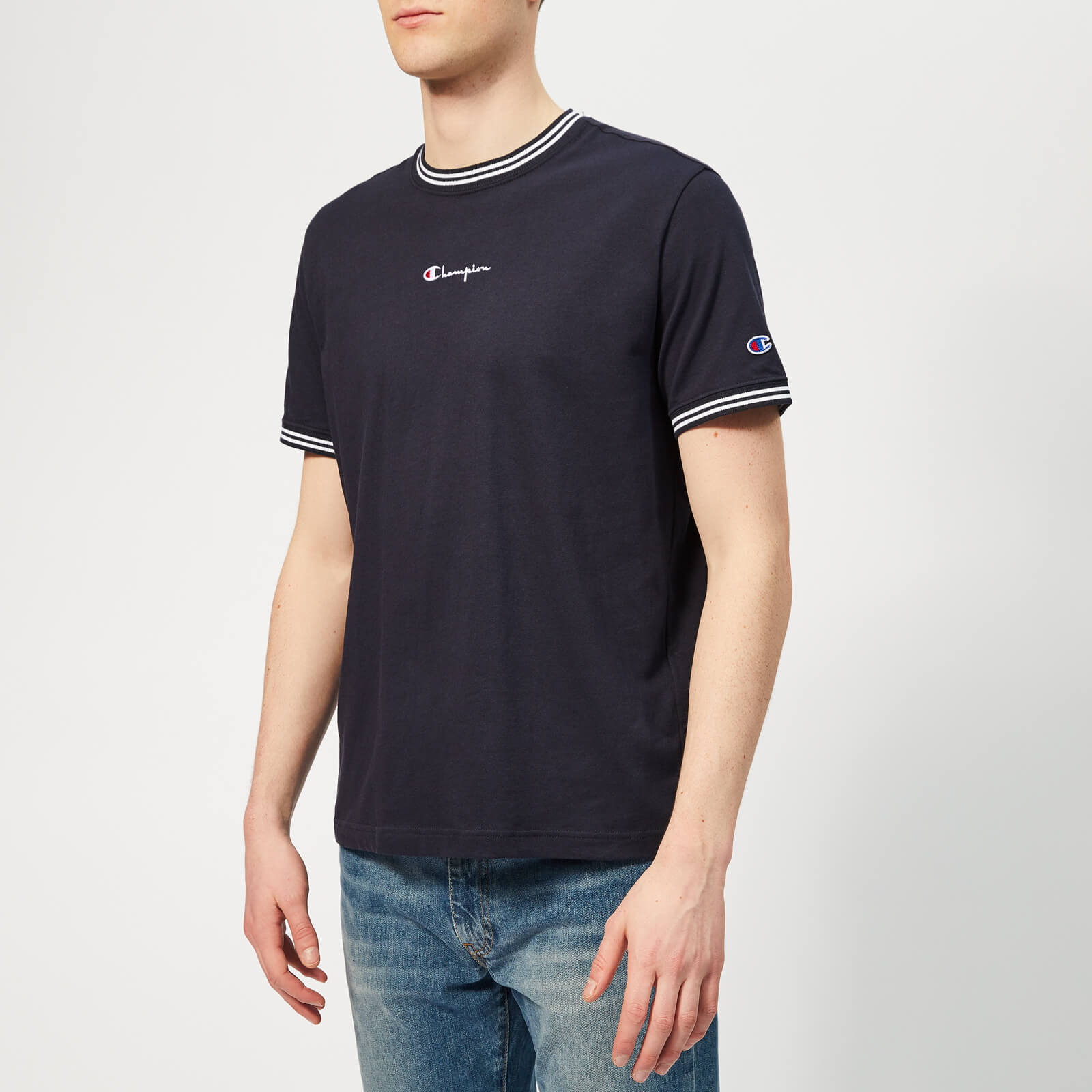 90c7ad96 Champion Men's Crew Neck T-Shirt - Navy - Free UK Delivery over £50