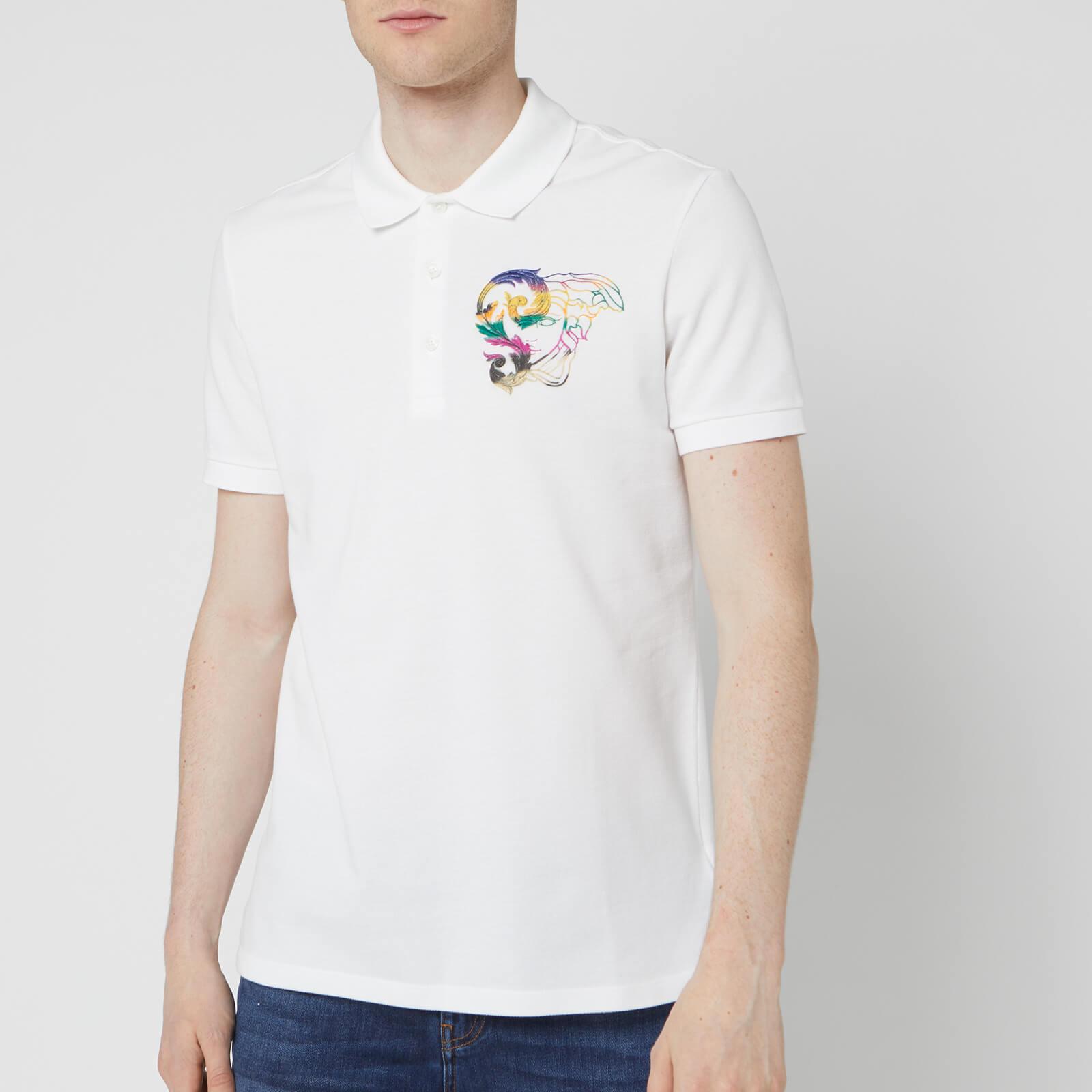 4f9acf4b Versace Collection Men's Small Logo Polo Shirt - White Print Clothing |  TheHut.com