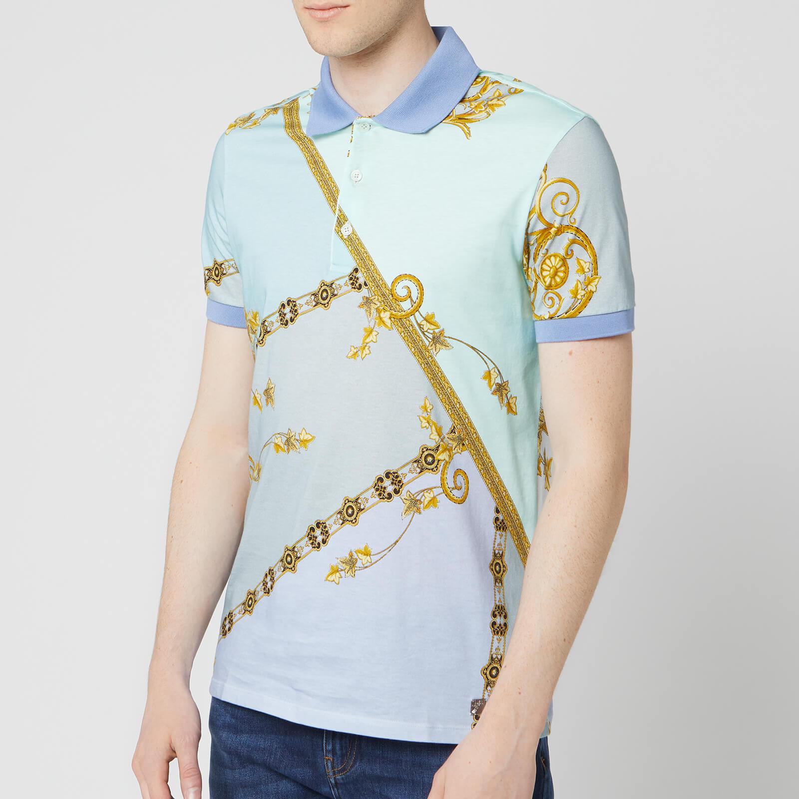 dd0e065706bb Versace Collection Men's All Over Print Polo Shirt - Blue Clothing    TheHut.com