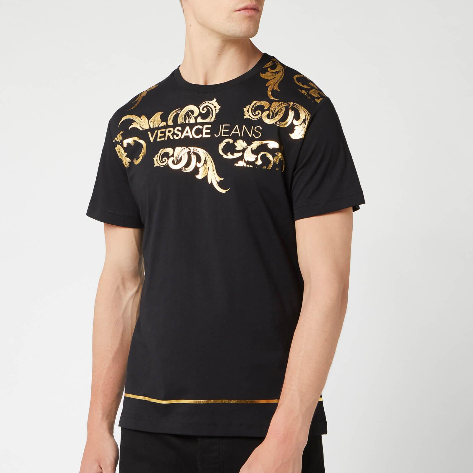 4ba59fc3d Versace Jeans Men's Collar Print T-Shirt - Black Clothing | TheHut.com