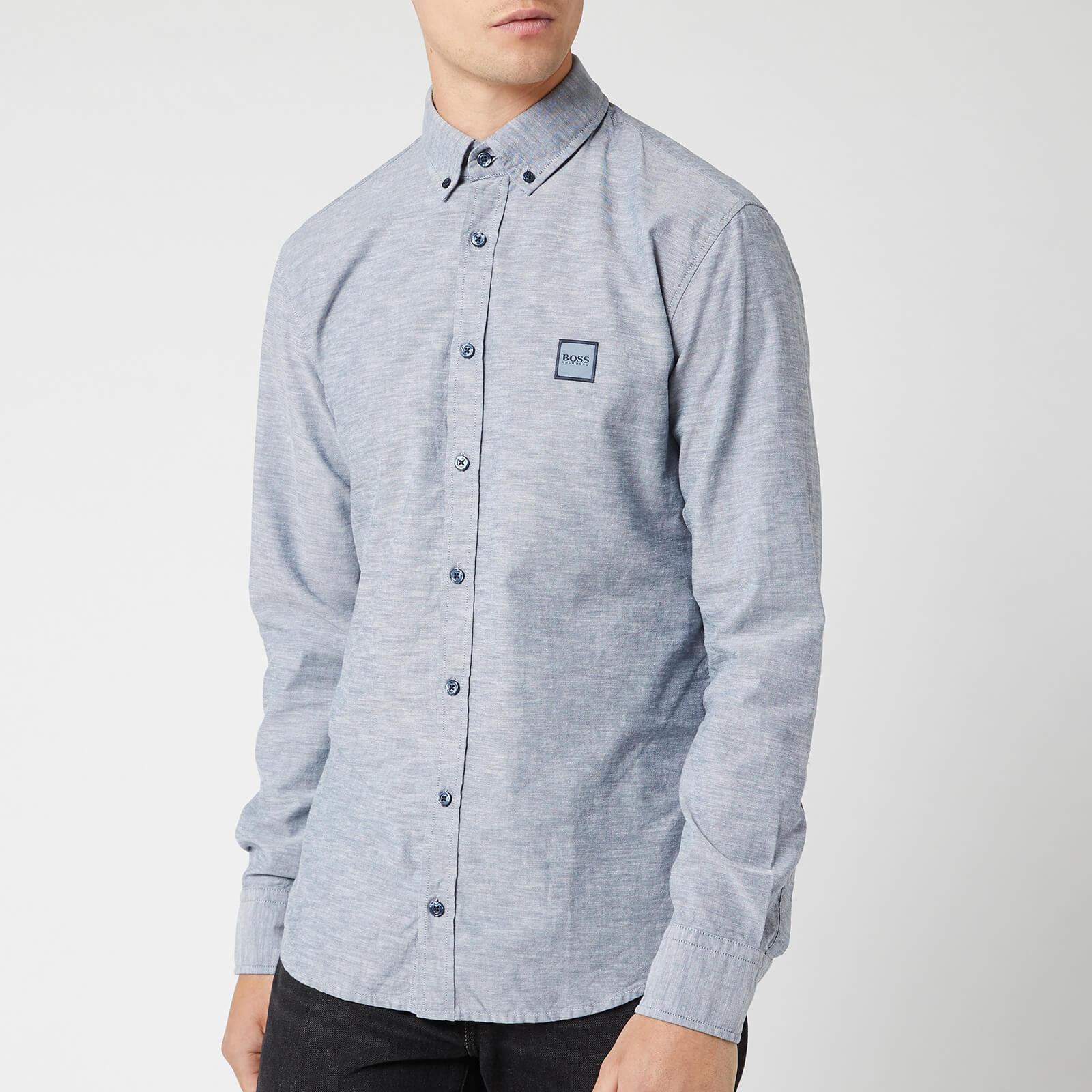5cbbdb7c0 BOSS Men's Mabsoot Long Sleeved Shirt - Dark Blue Mens Clothing ...