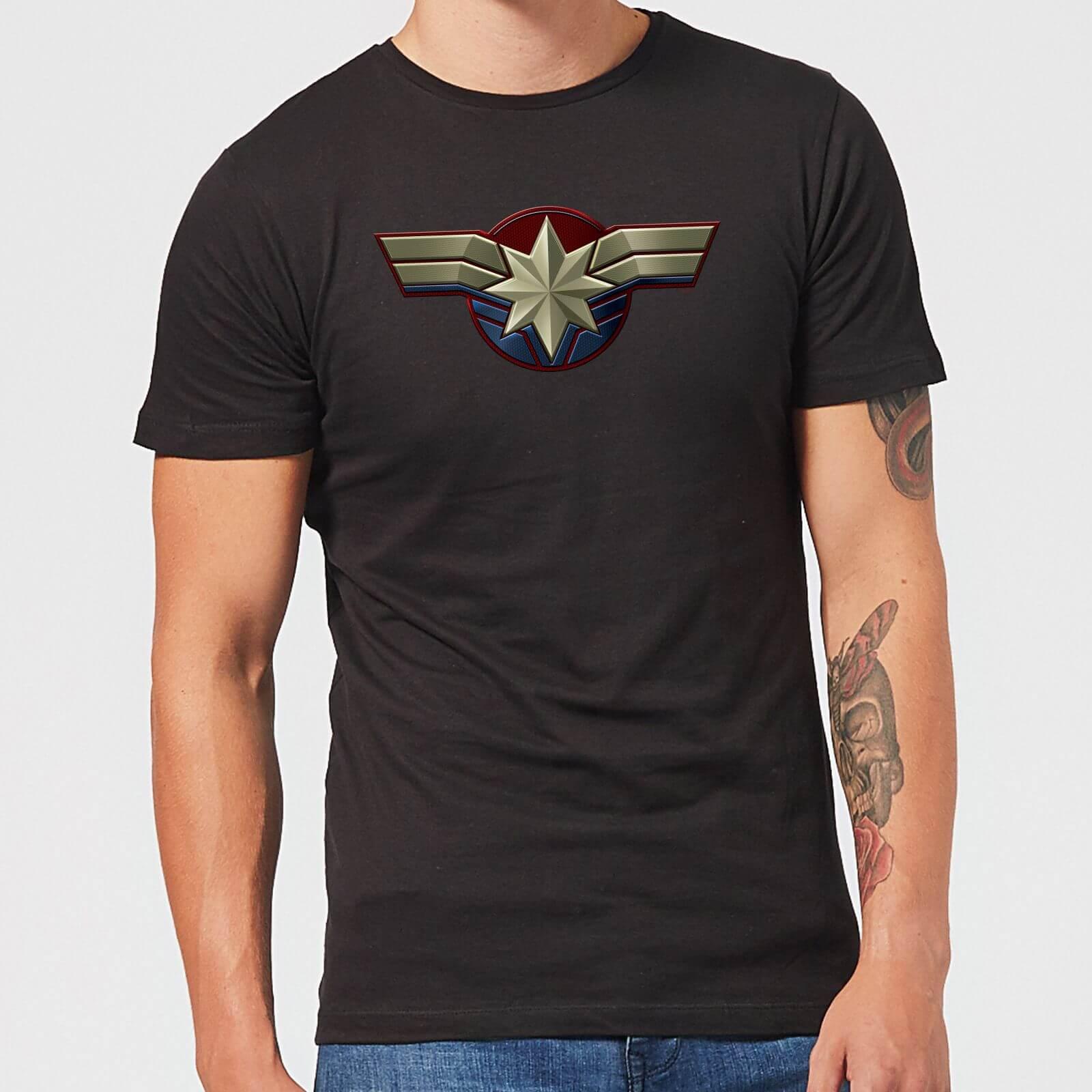 597c1bb6 Captain Marvel Chest Emblem Men's T-Shirt - Black Clothing | Zavvi
