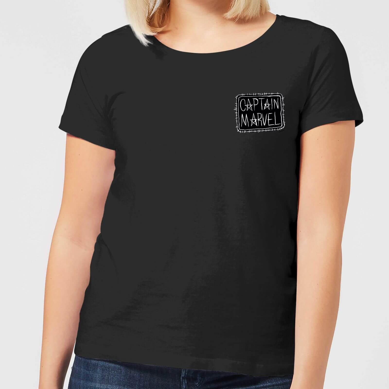 Captain Marvel Name Badge Womens T Shirt Black Clothing Zavvi