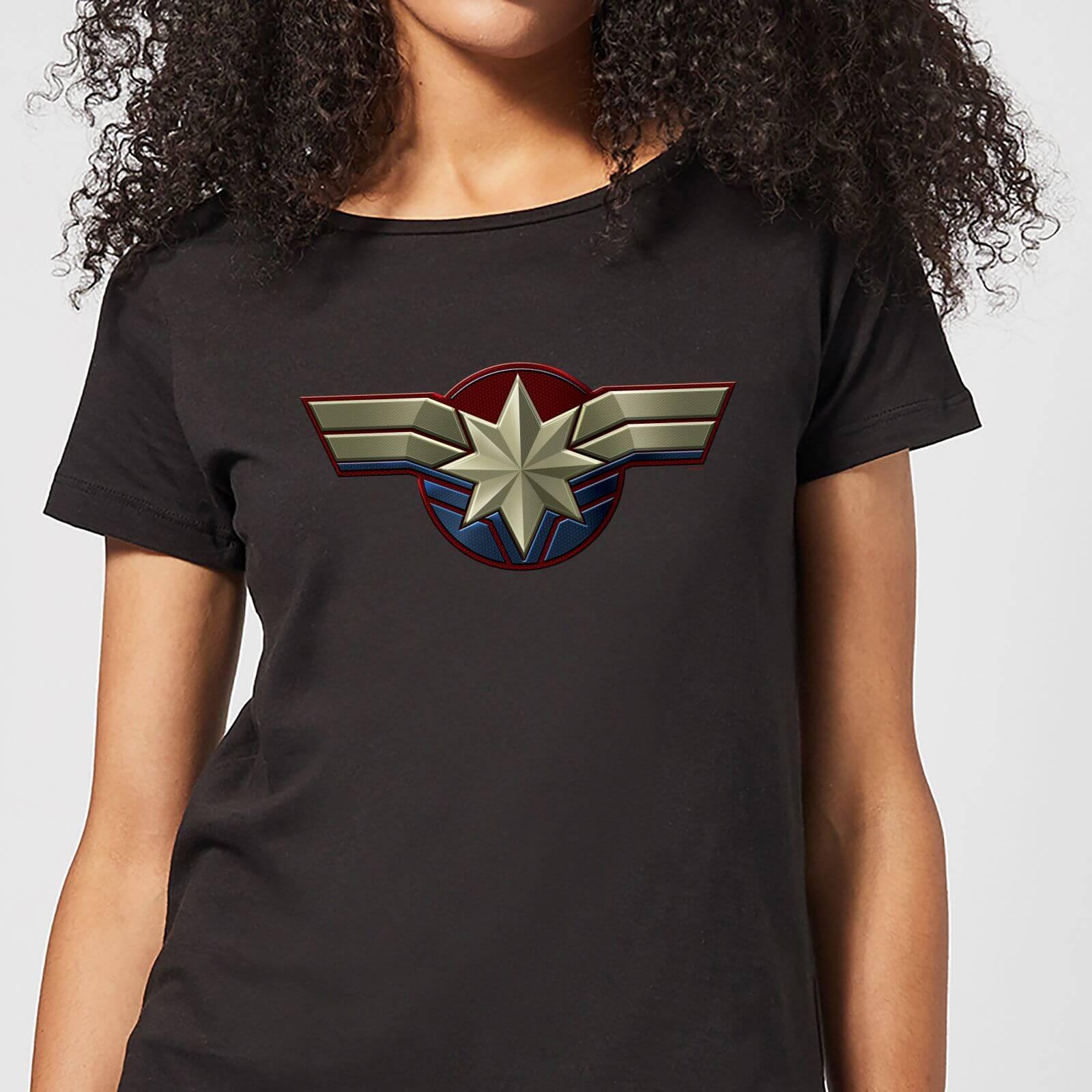00f26d94734 Captain Marvel Chest Emblem Women s T-Shirt - Black Clothing