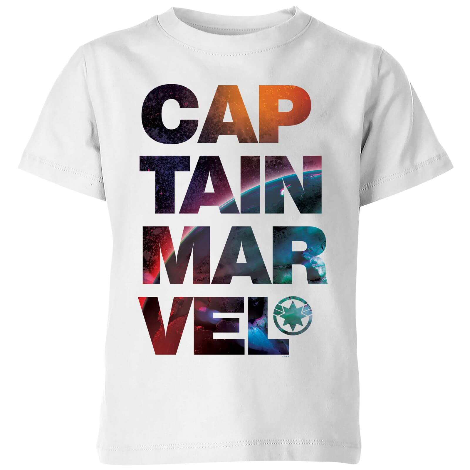 959f4d52a4f0 Captain Marvel Space Text Kids' T-Shirt - White | IWOOT