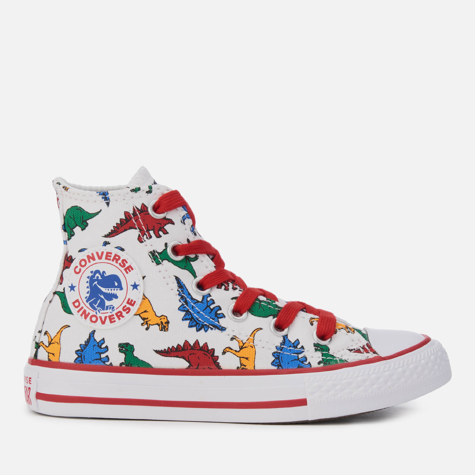 ac12d63c1c12ca Converse Kids  Chuck Taylor All Star Hi-Top Trainers - White Enamel  Red Totally Blue Junior Clothing