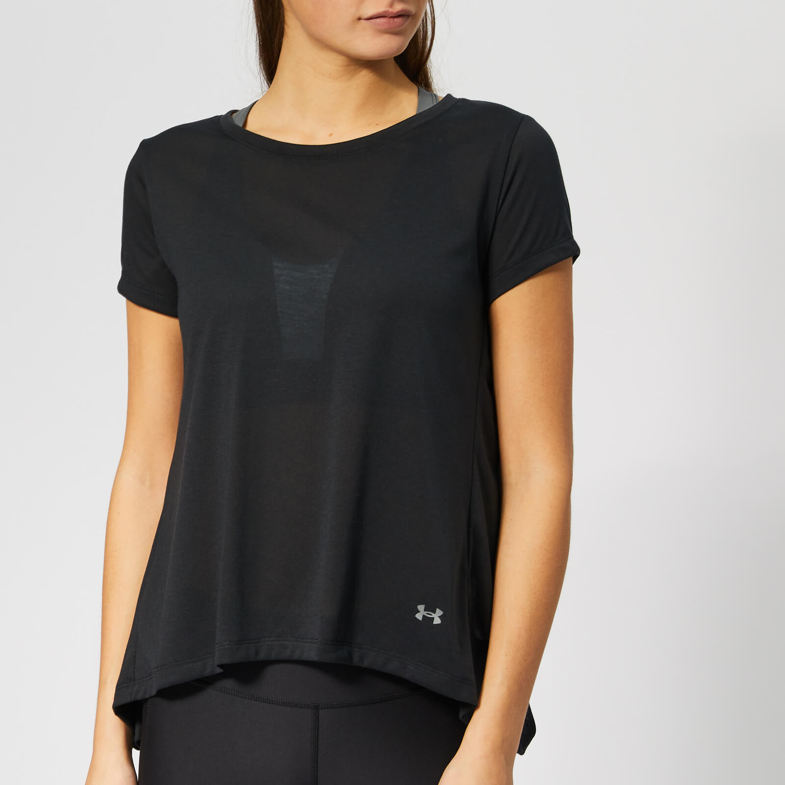 e9ab7c42 Under Armour Women's Whisper Light Foldover Short Sleeve T-Shirt - Black