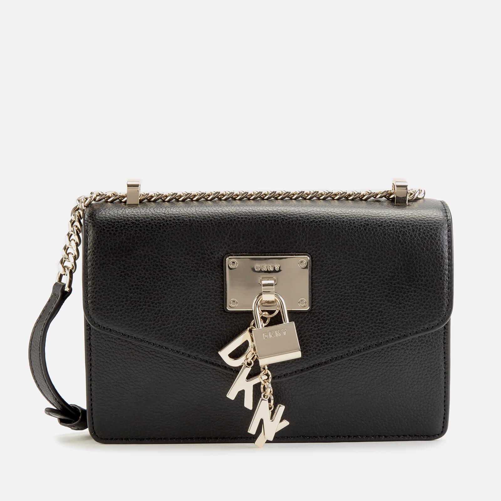DKNY Women's Elissa Small Shoulder Flap Bag BlackGold