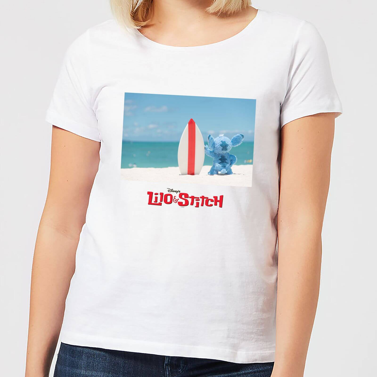 fc417d0e2c Disney Lilo And Stitch Surf Beach Women's T-Shirt - White