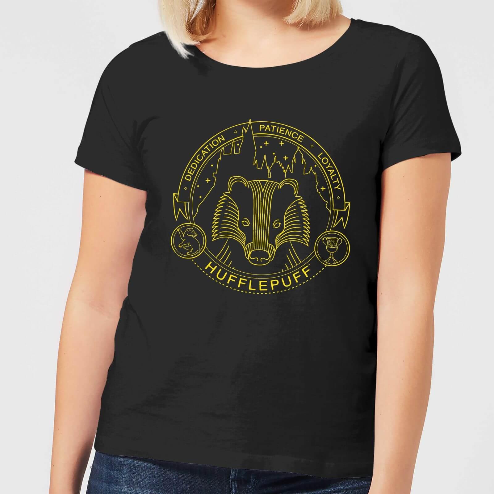 99f996a9 Harry Potter Hufflepuff Badger Badge Women's T-Shirt - Black Clothing    Zavvi