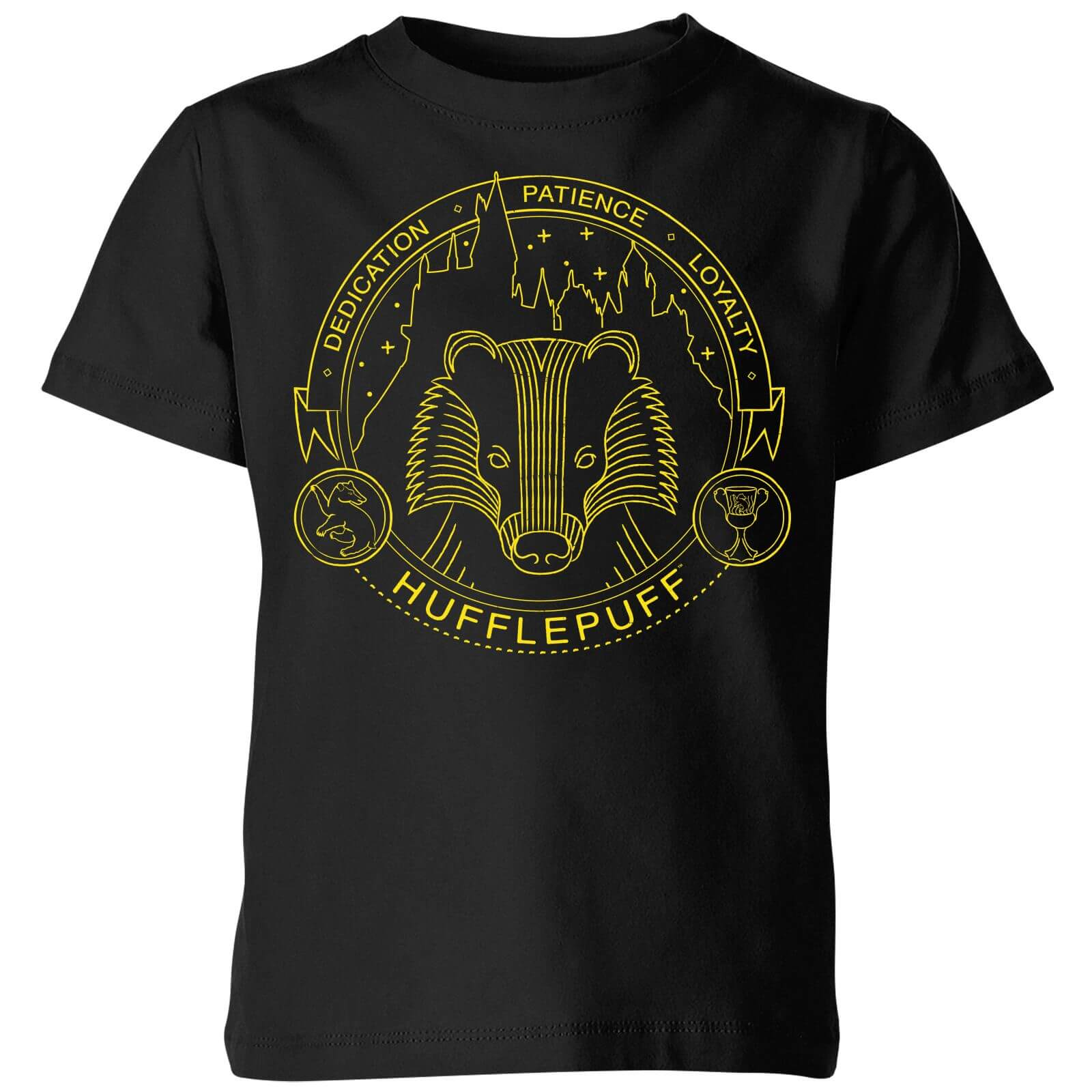 5d493b62c1fe7 Harry Potter Hufflepuff Badger Badge Kids' T-Shirt - Black