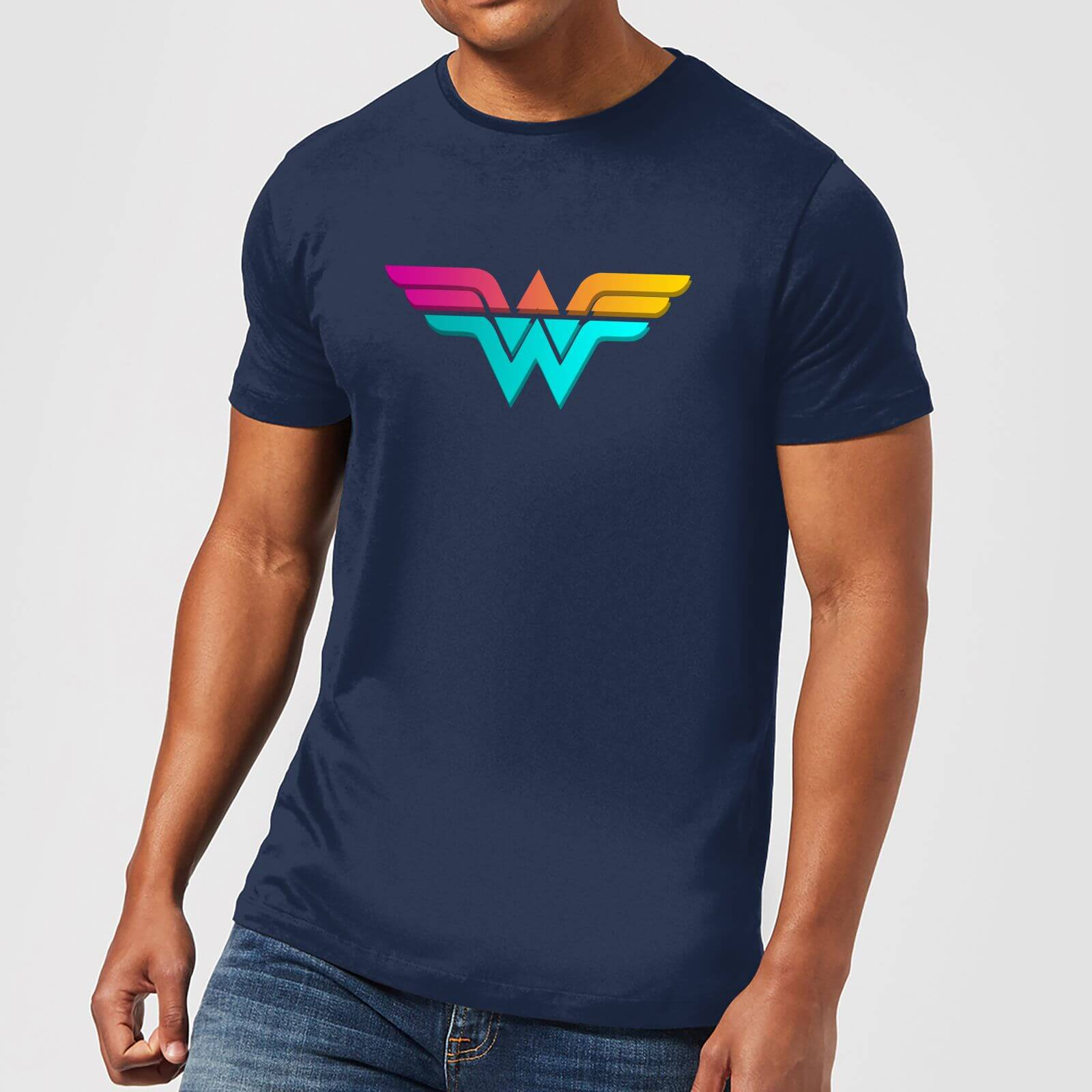 95f60ab0c Justice League Neon Wonder Woman Men's T-Shirt - Navy Clothing | Zavvi