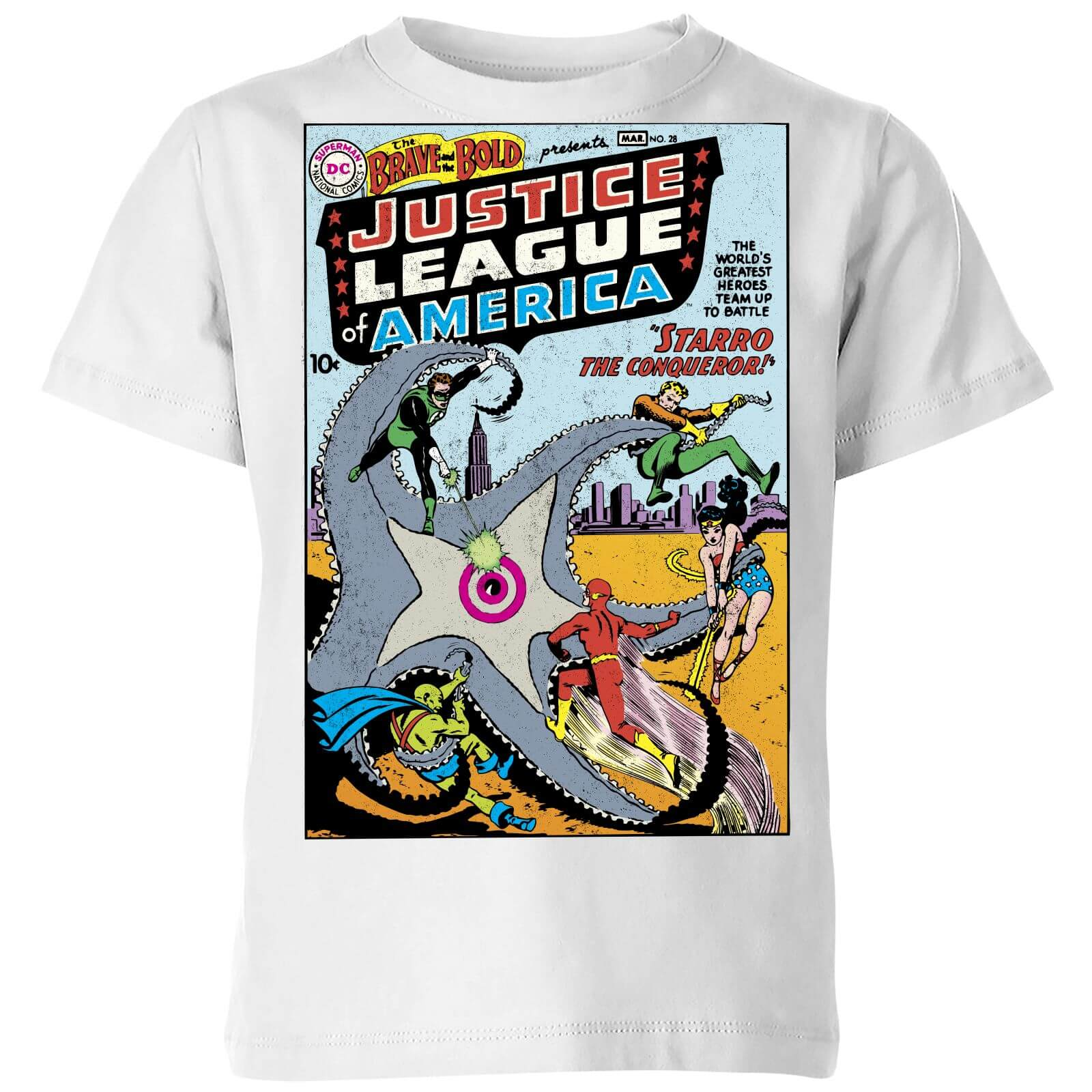 dfb8cf9d1e6 Justice League Starro The Conqueror Cover Kids' T-Shirt - White Clothing |  Zavvi