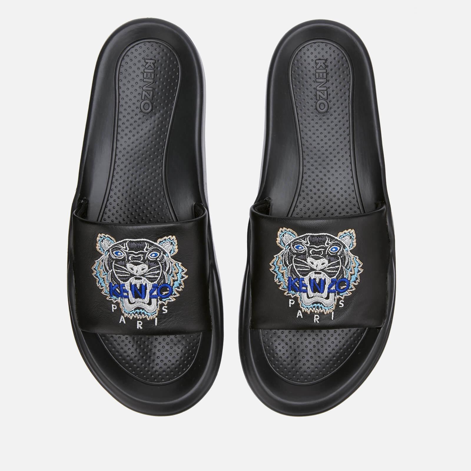 Tiger Head Pool Slide Sandals - Black